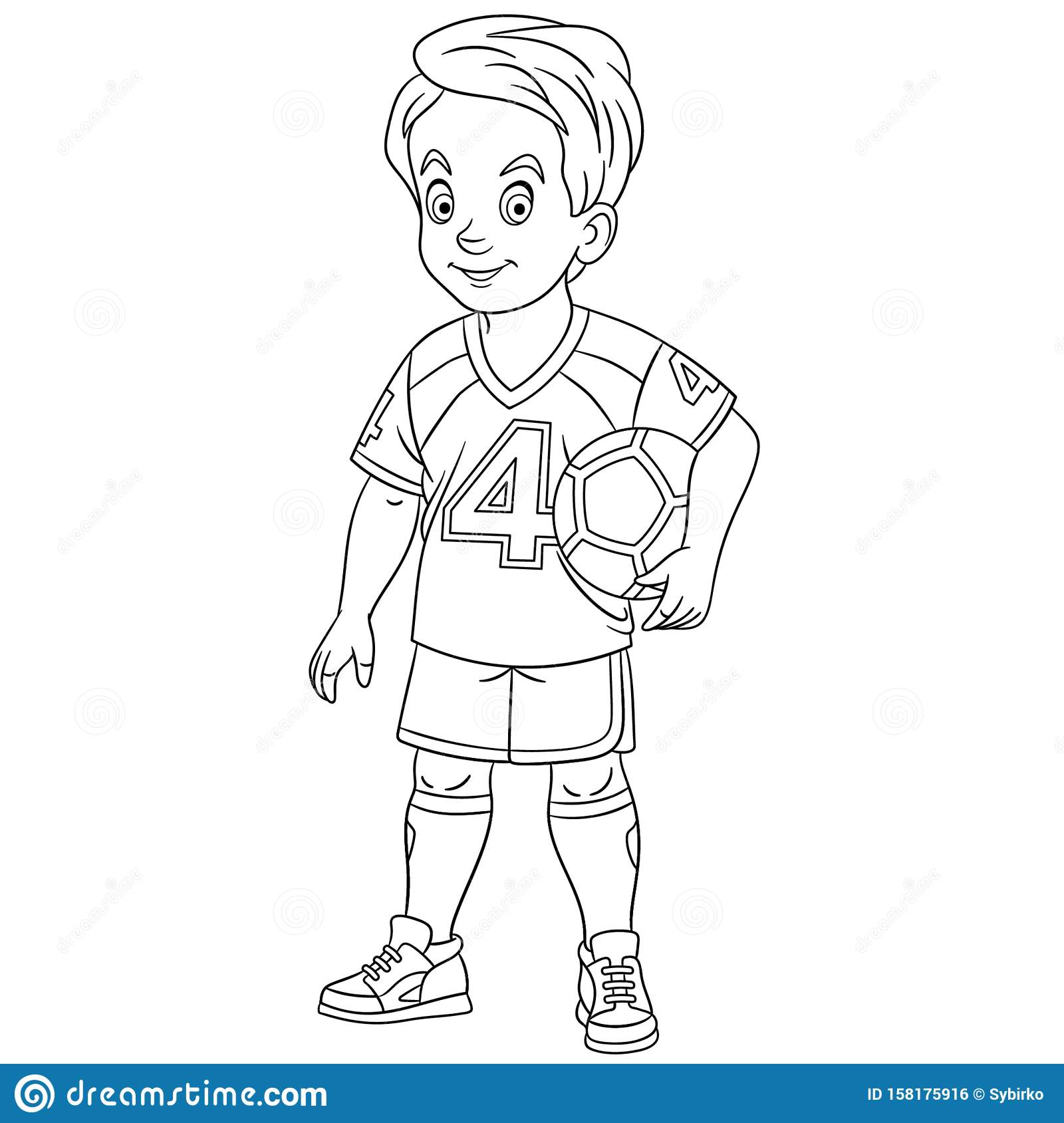 Coloring Page With Footballer Football Player Stock Vector Illustration Of Clipart Coloring 158175916