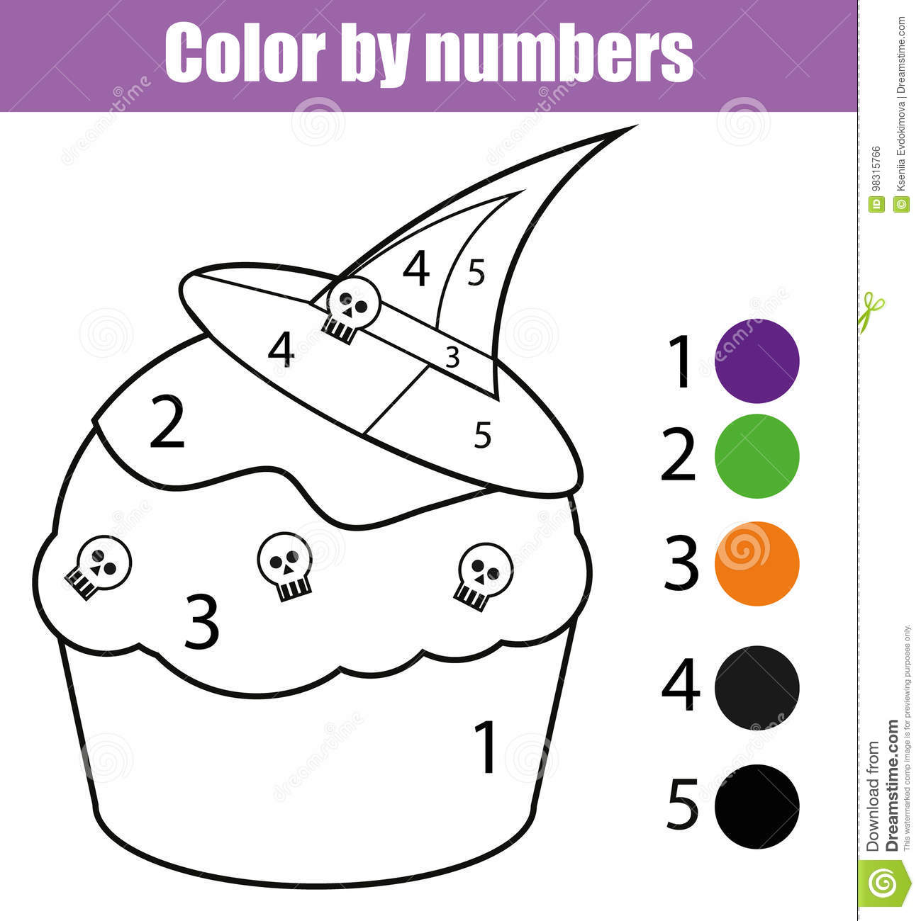 Coloring Page With Halloween Cupcake Color By Numbers