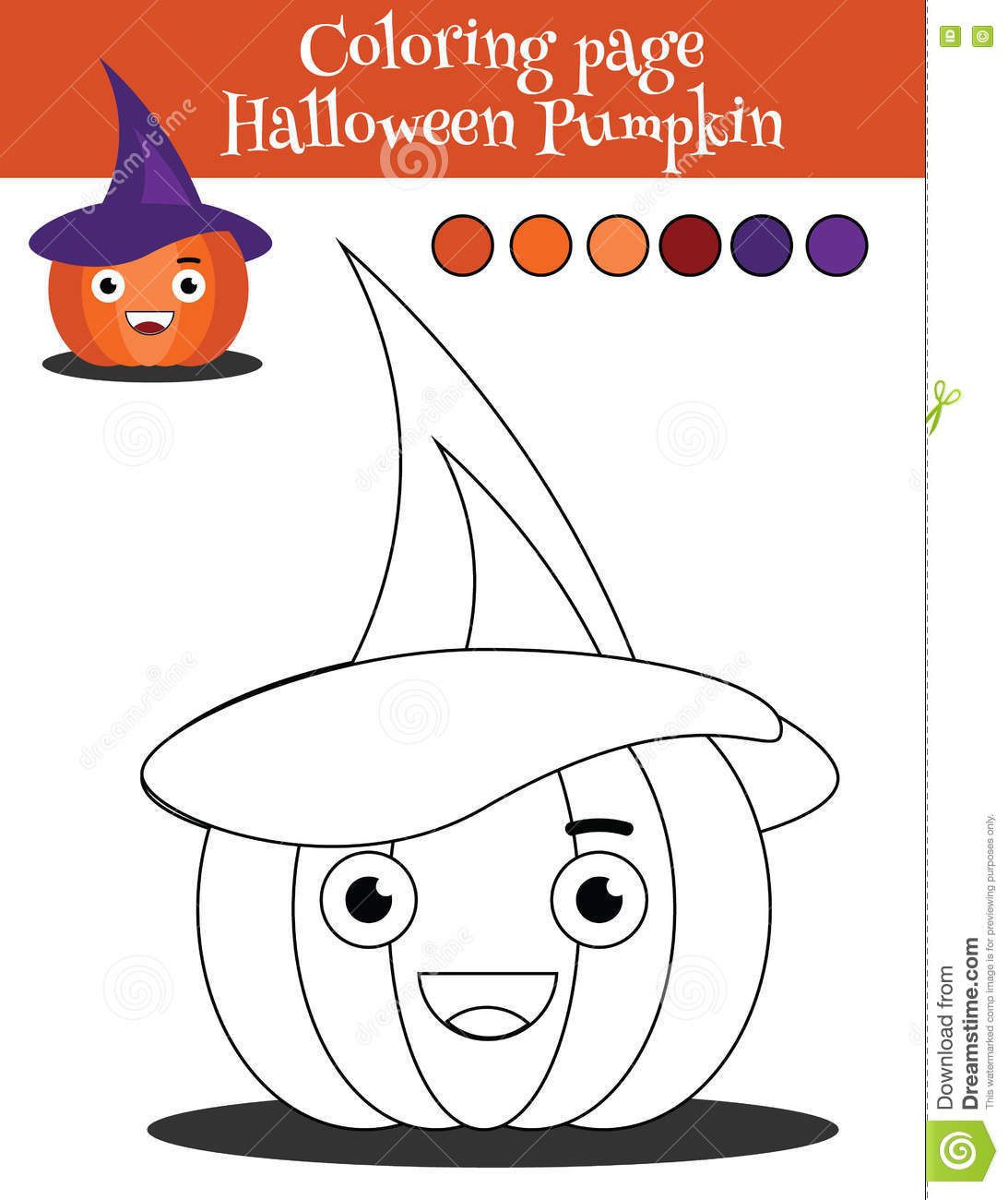 Coloring Page With Halloween Pumpkin Educational Game