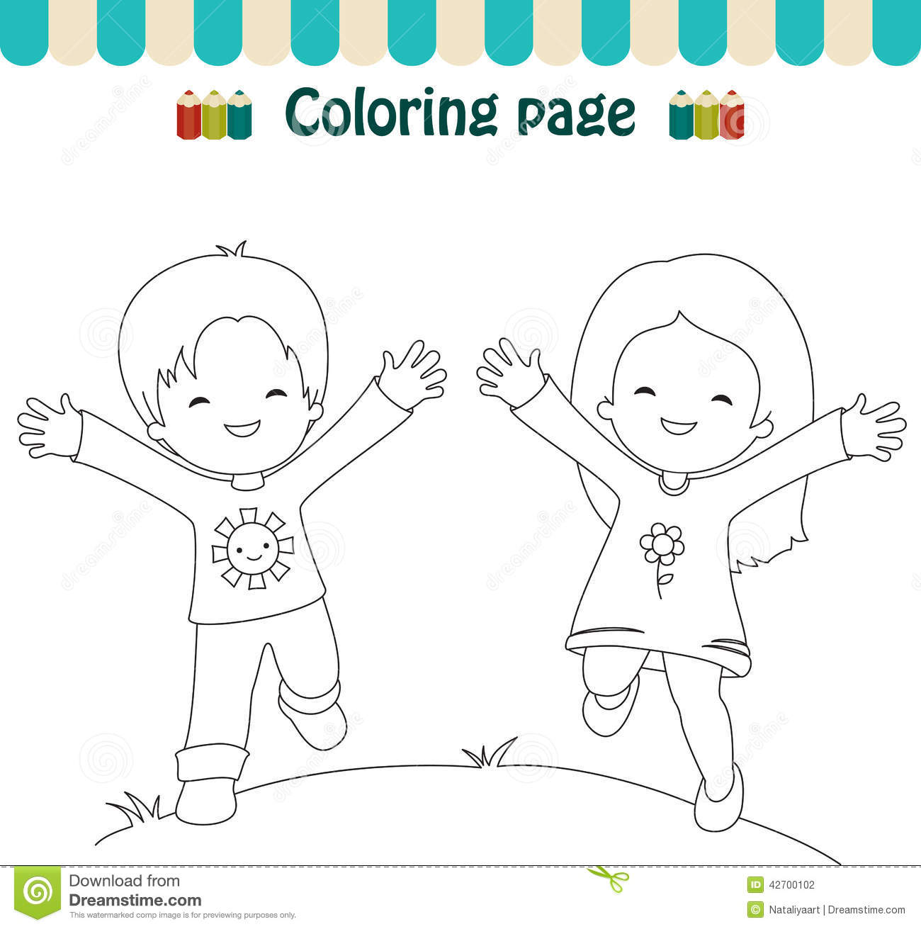 Coloring Page Happy Kids Stock Vector