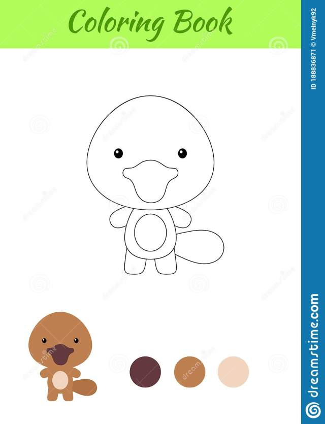 Coloring Page Happy Little Baby Platypus. Printable Coloring Book