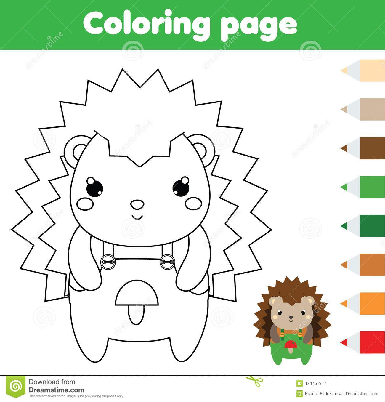 Coloring Page With Hedgehog Drawing Kids Activity