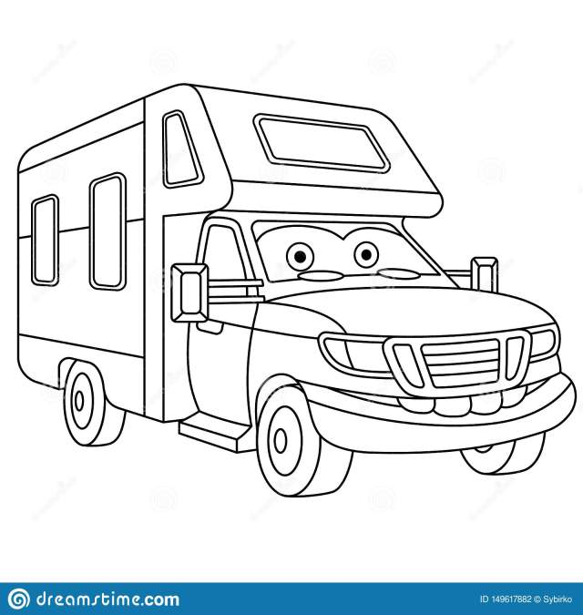 Coloring Page with House on Wheels Rv Trailer Stock Vector