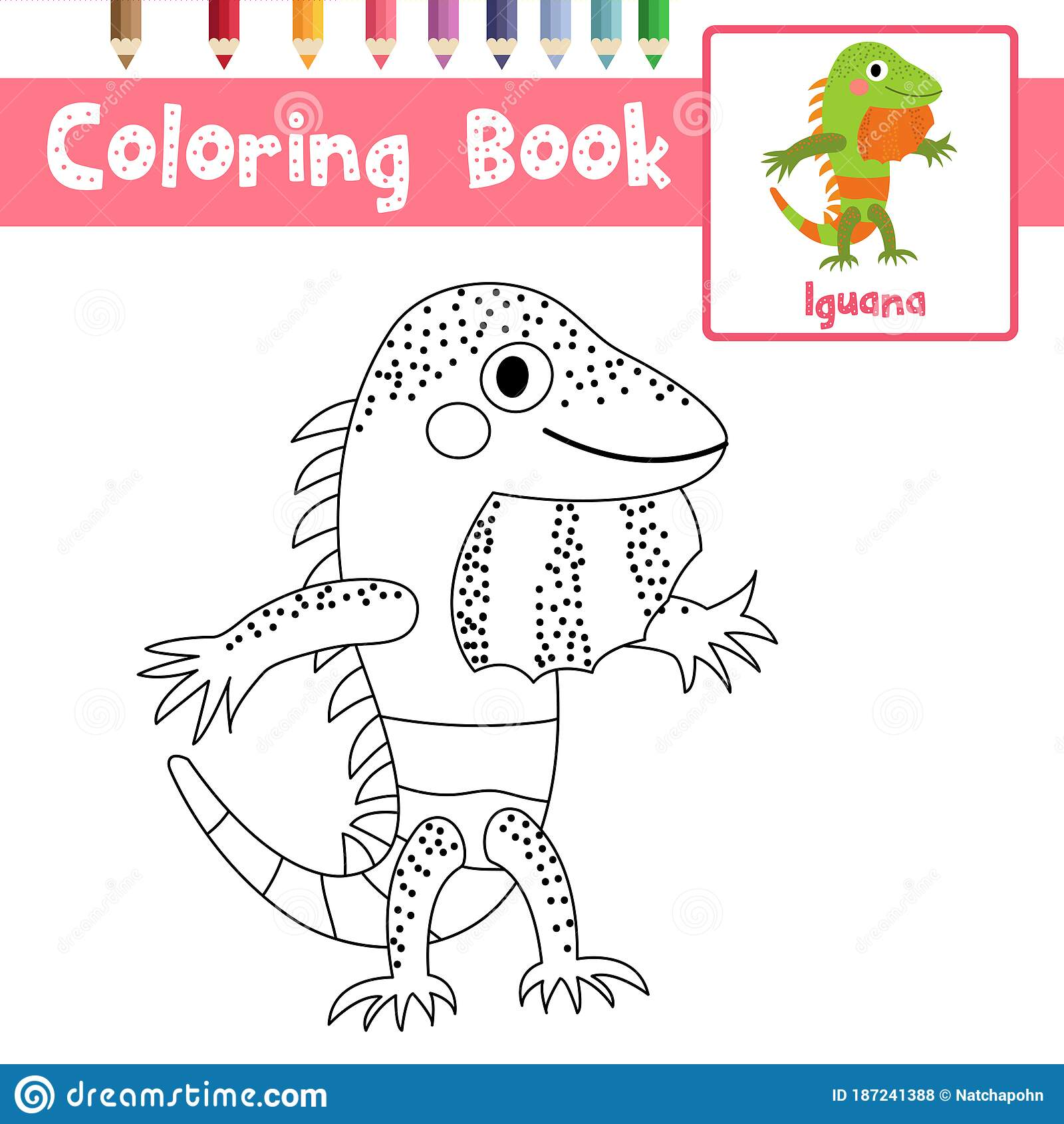 Coloring Page Iguana Standing On Two Legs Animal Cartoon