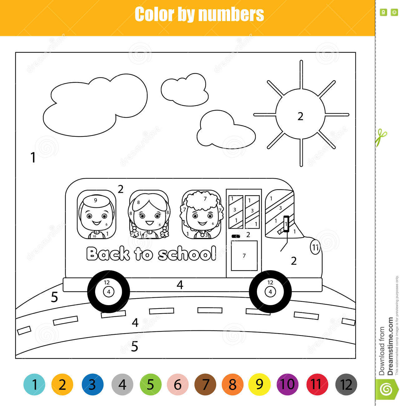 Coloring Page With Kids In School Bus Color By Numbers