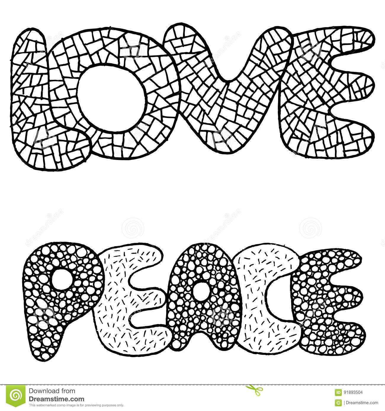 Coloring Page With Love And Peace Word Stock Vector