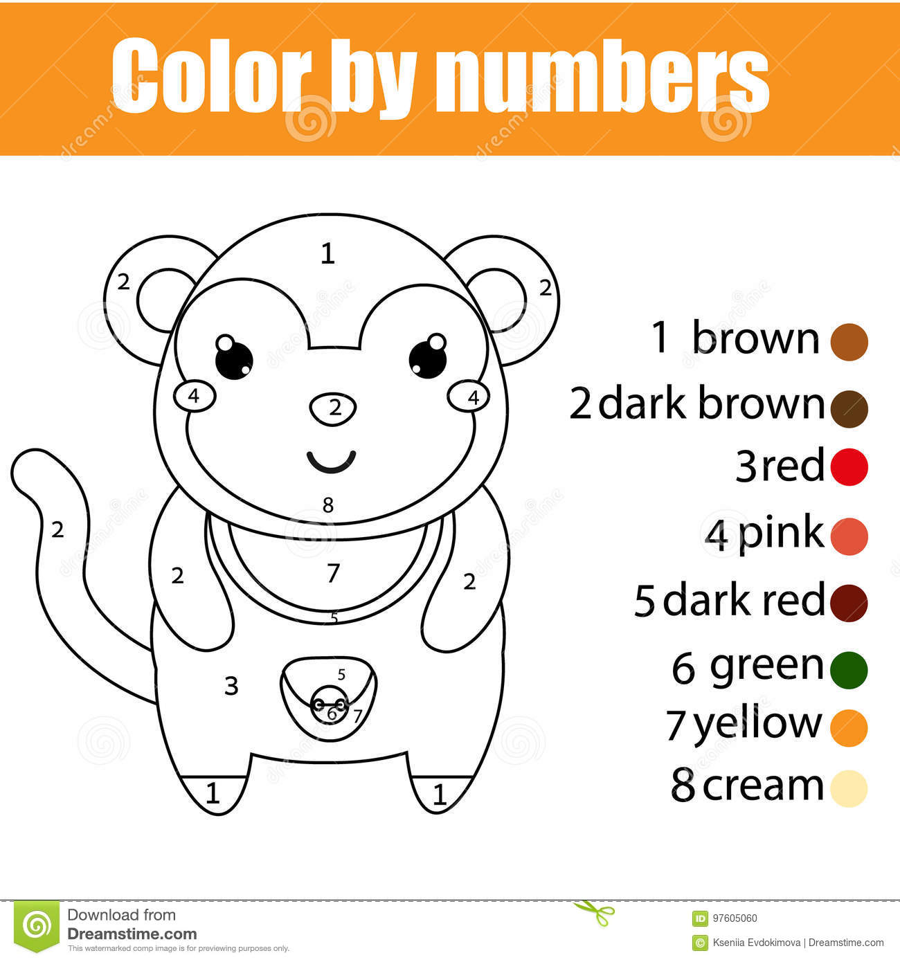Coloring Page With Monkey Color By Numbers Educational Children Game Drawing Kids Activity Stock Vector Illustration Of Hobby Education 97605060