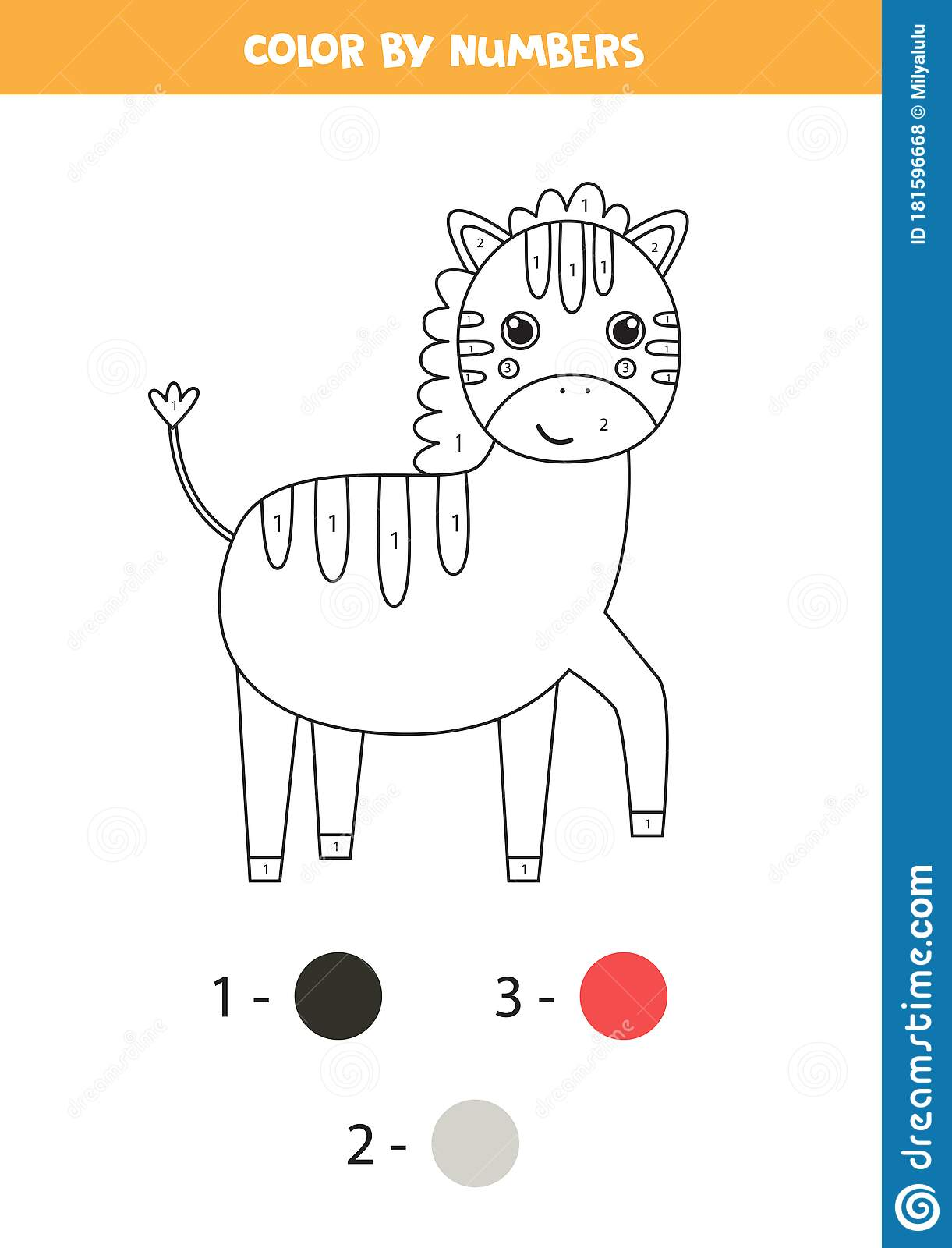 Coloring Page By Numbers For Kids Cute Cartoon Zebra