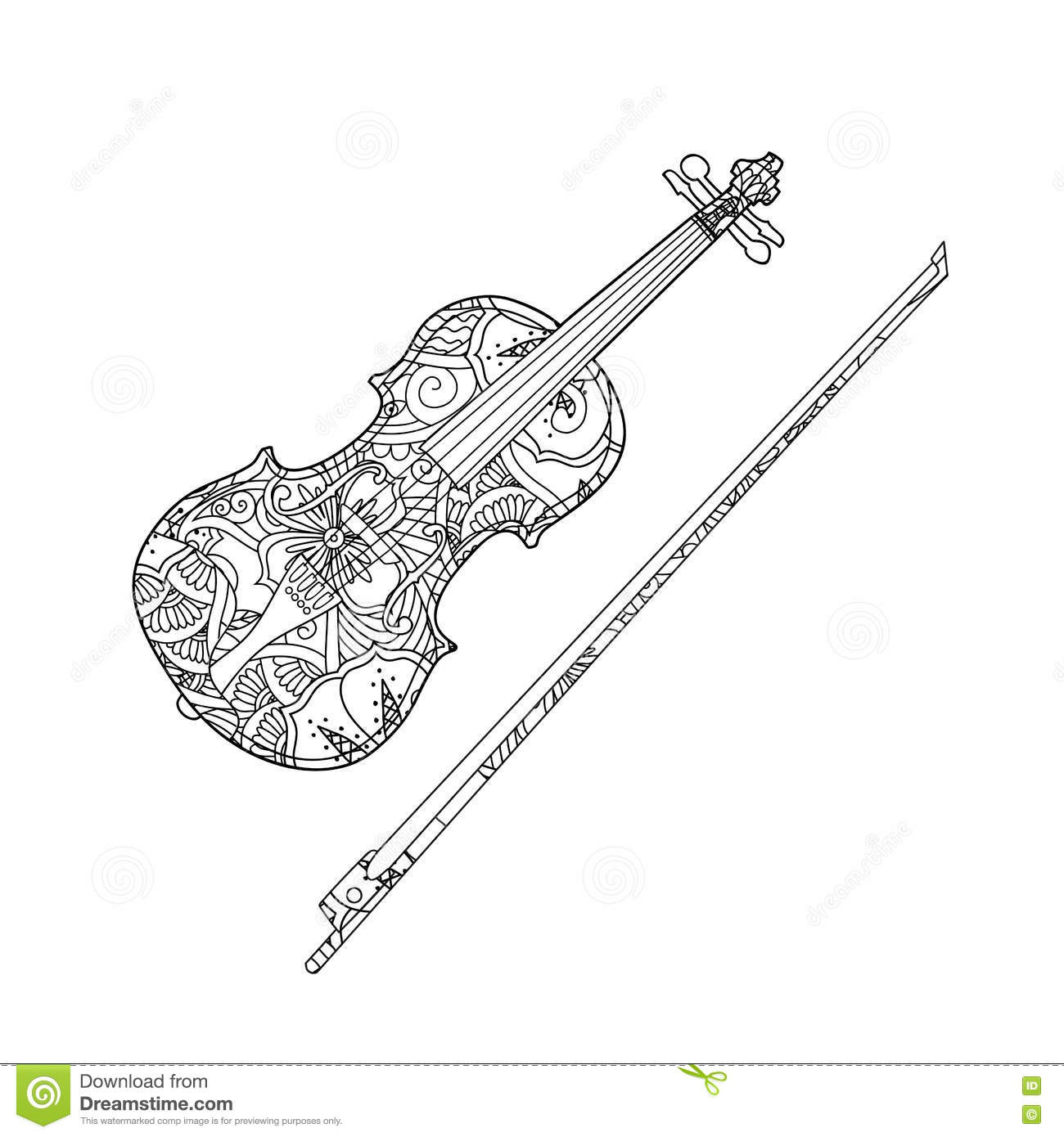 Coloring Page With Ornamental Violin And Fiddlestick