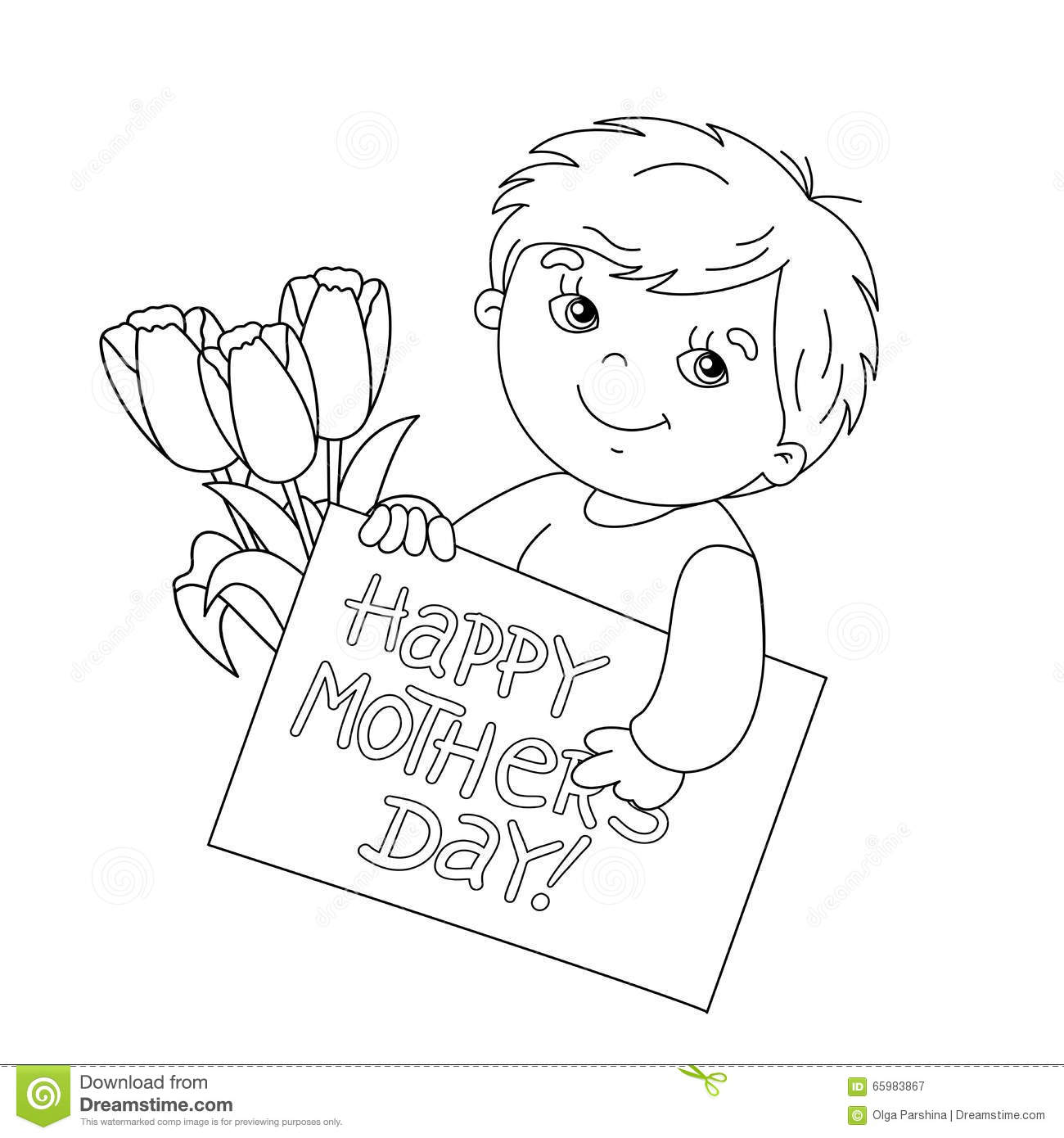 Coloring Page Outline Of Boy With Card For Mother S Day