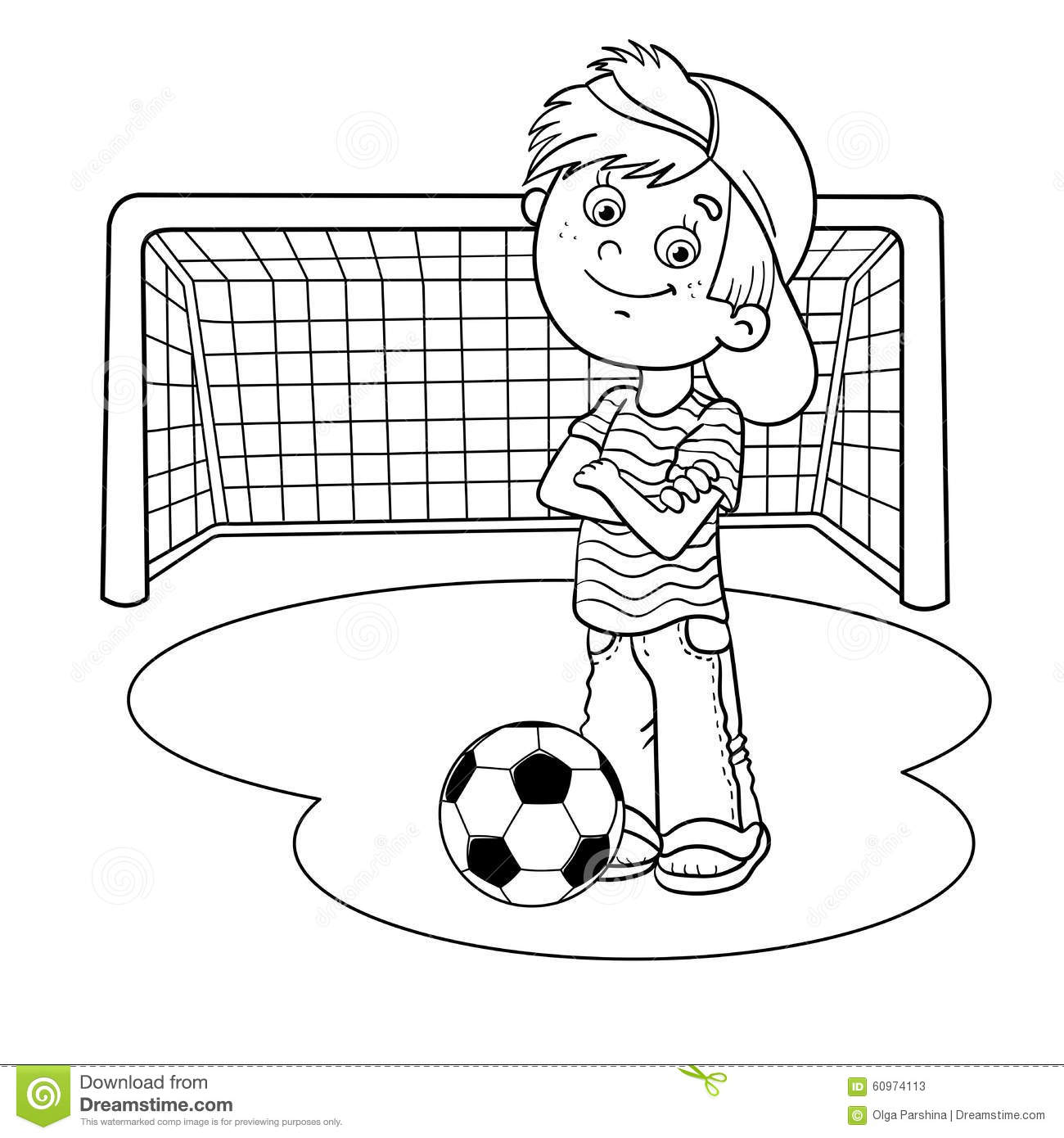 Coloring Page Outline Of A Boy With A Soccer Ball Stock