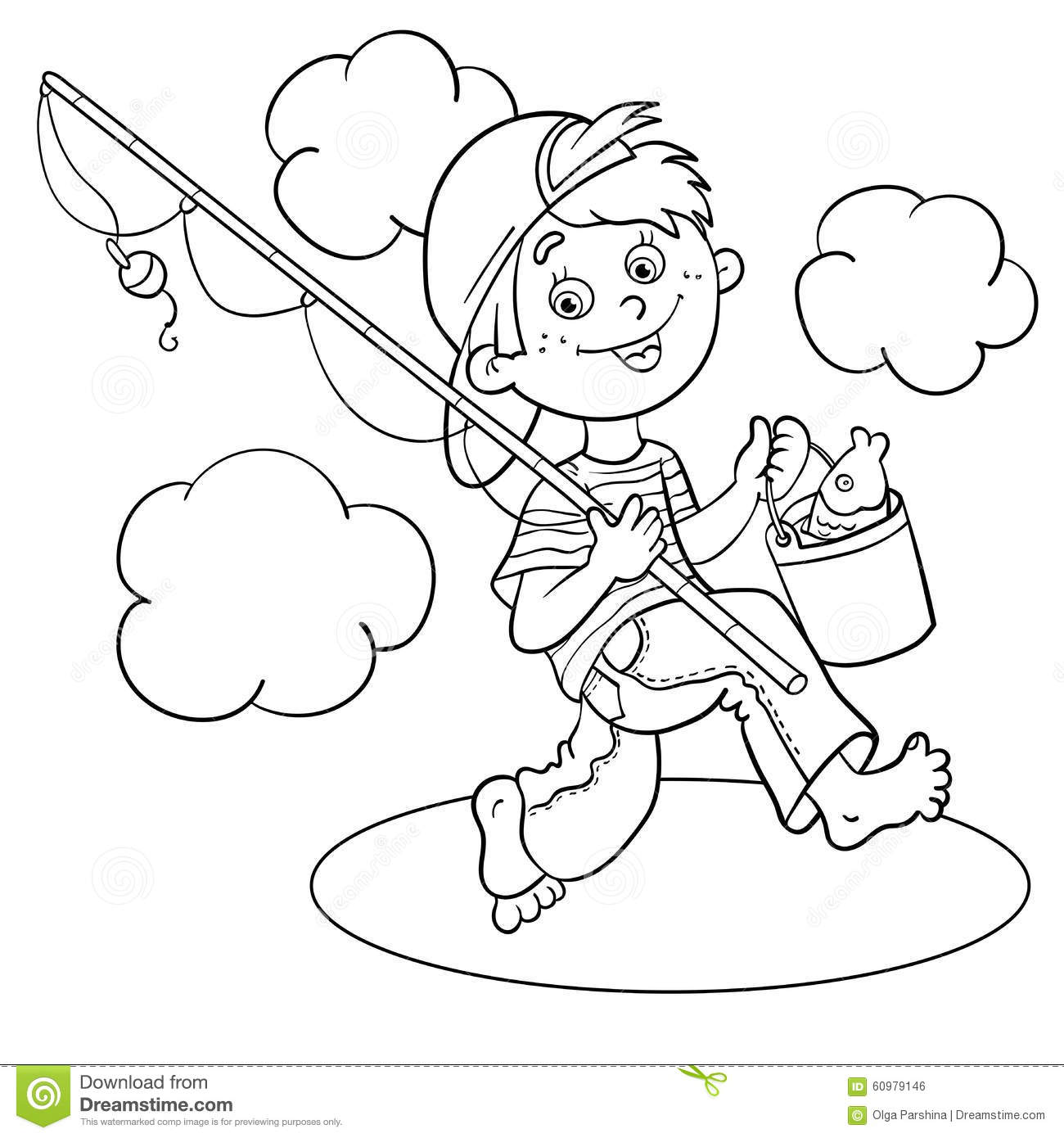 Coloring Page Of Boy Fishing Coloring Page