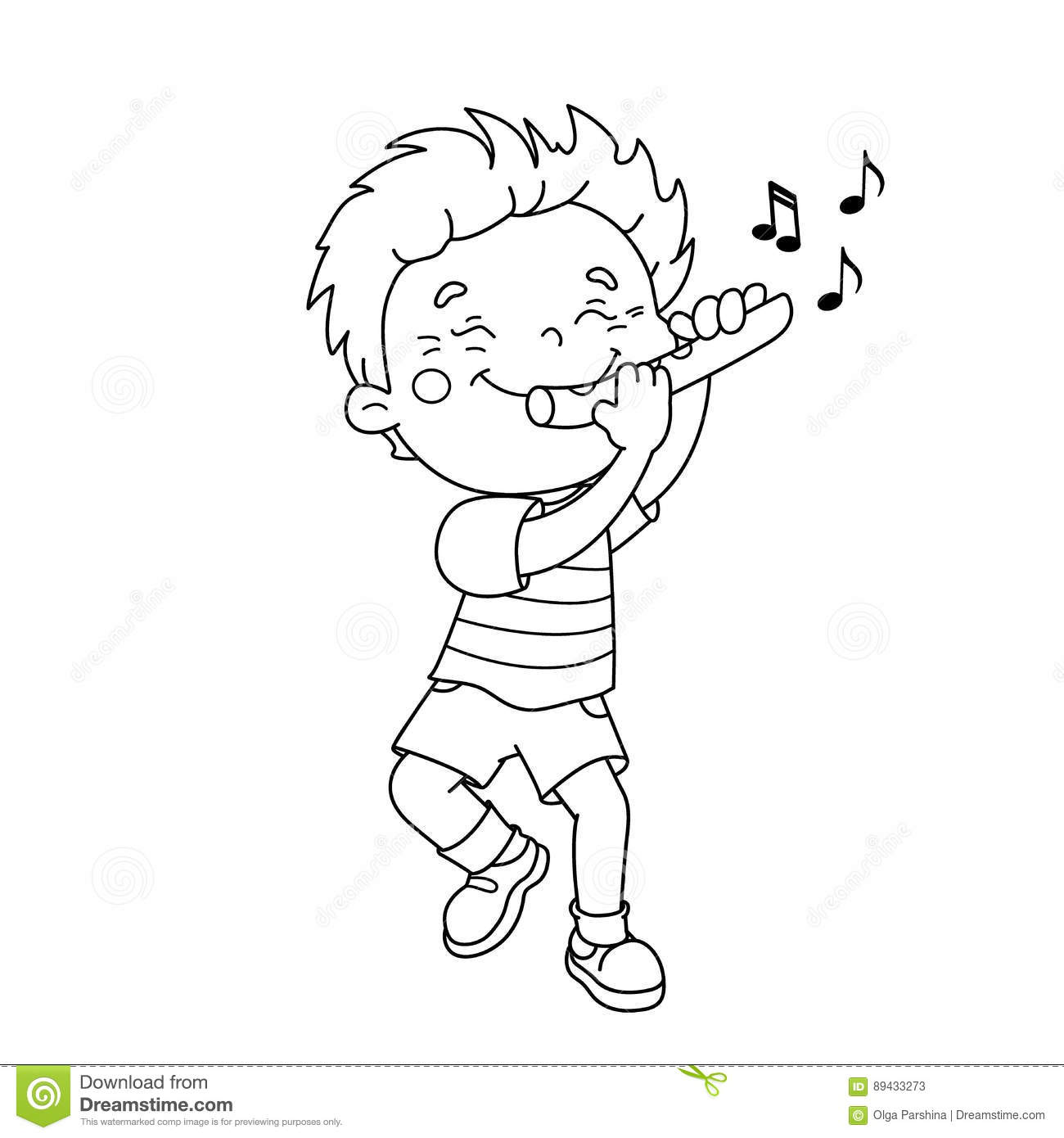 Coloring Page Outline Of Cartoon Boy Playing The Flute