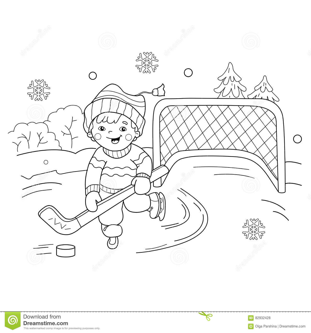 Coloring Page Outline Of Cartoon Boy Playing Hockey Stock