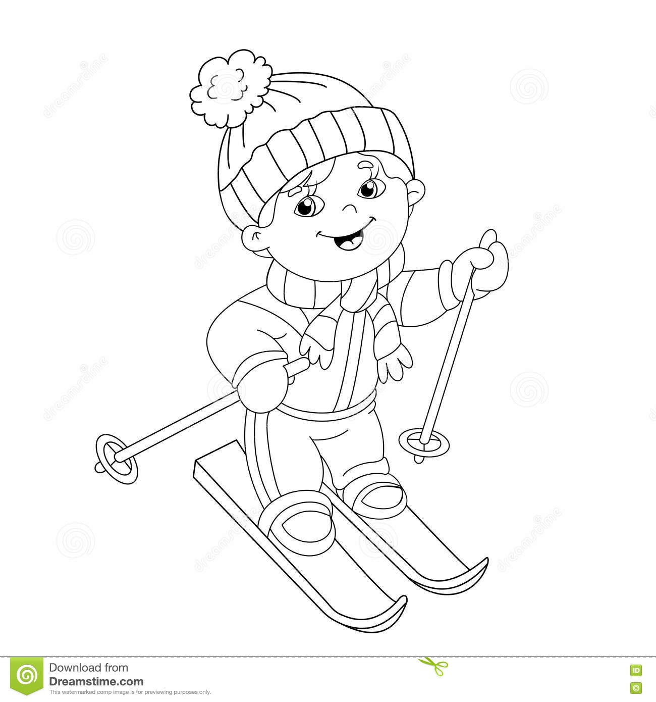Coloring Page Outline Of Cartoon Boy Riding On Skis Stock