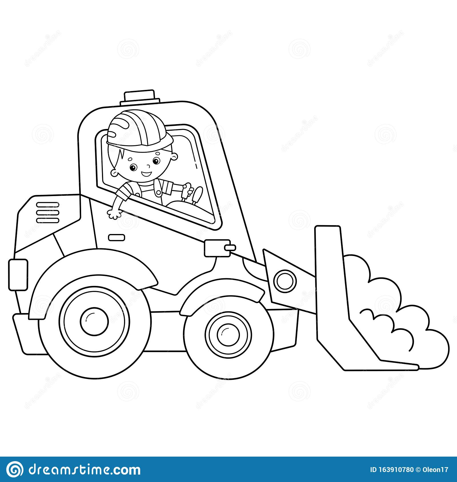 Coloring Page Outline Of Cartoon Bulldozer Construction