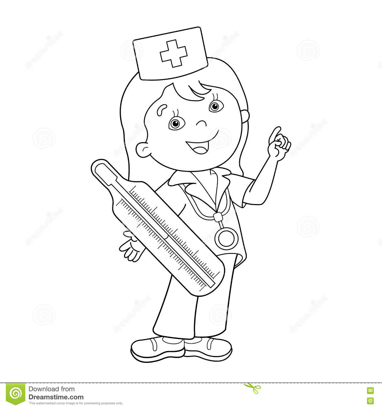 Coloring Page Outline Of Cartoon Doctor With Thermometer
