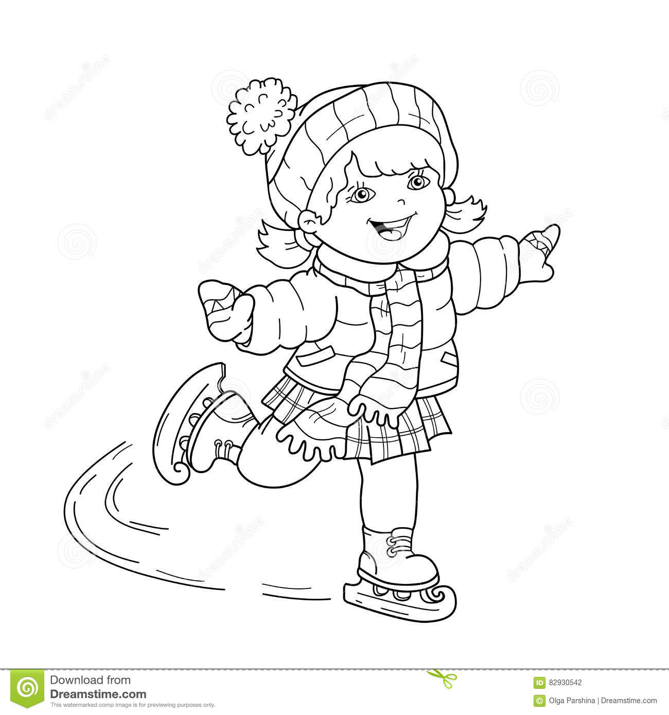 Coloring Page Outline Of Cartoon Girl Skating Winter