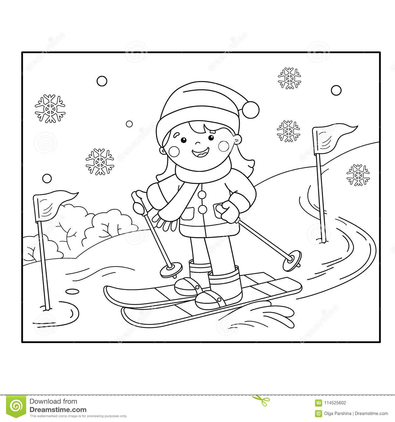 Coloring Page Outline Of Cartoon Girl Skiing Winter