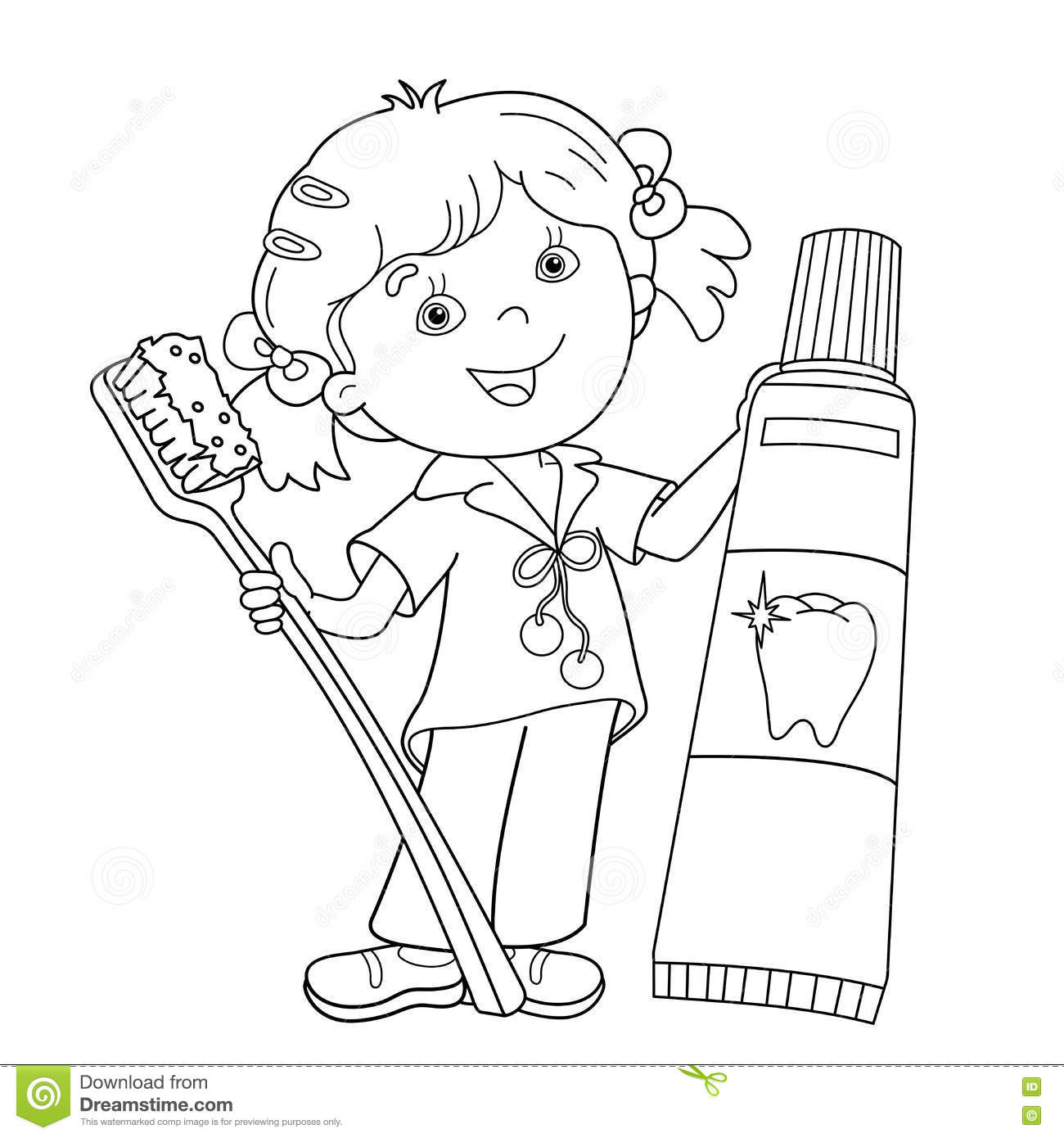 Coloring Page Outline Of Cartoon Girl With Toothbrush And Toothpaste Stock Vector