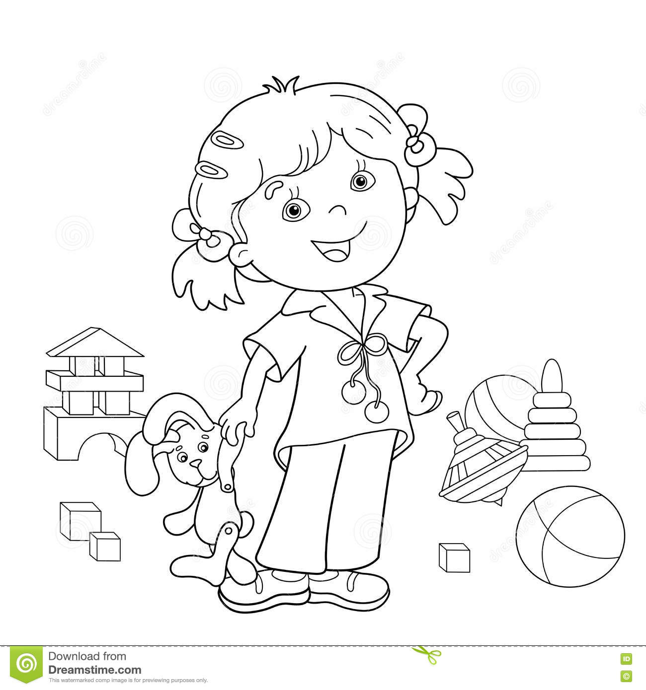 Coloring Page Outline Of Cartoon Girl With Toys Stock