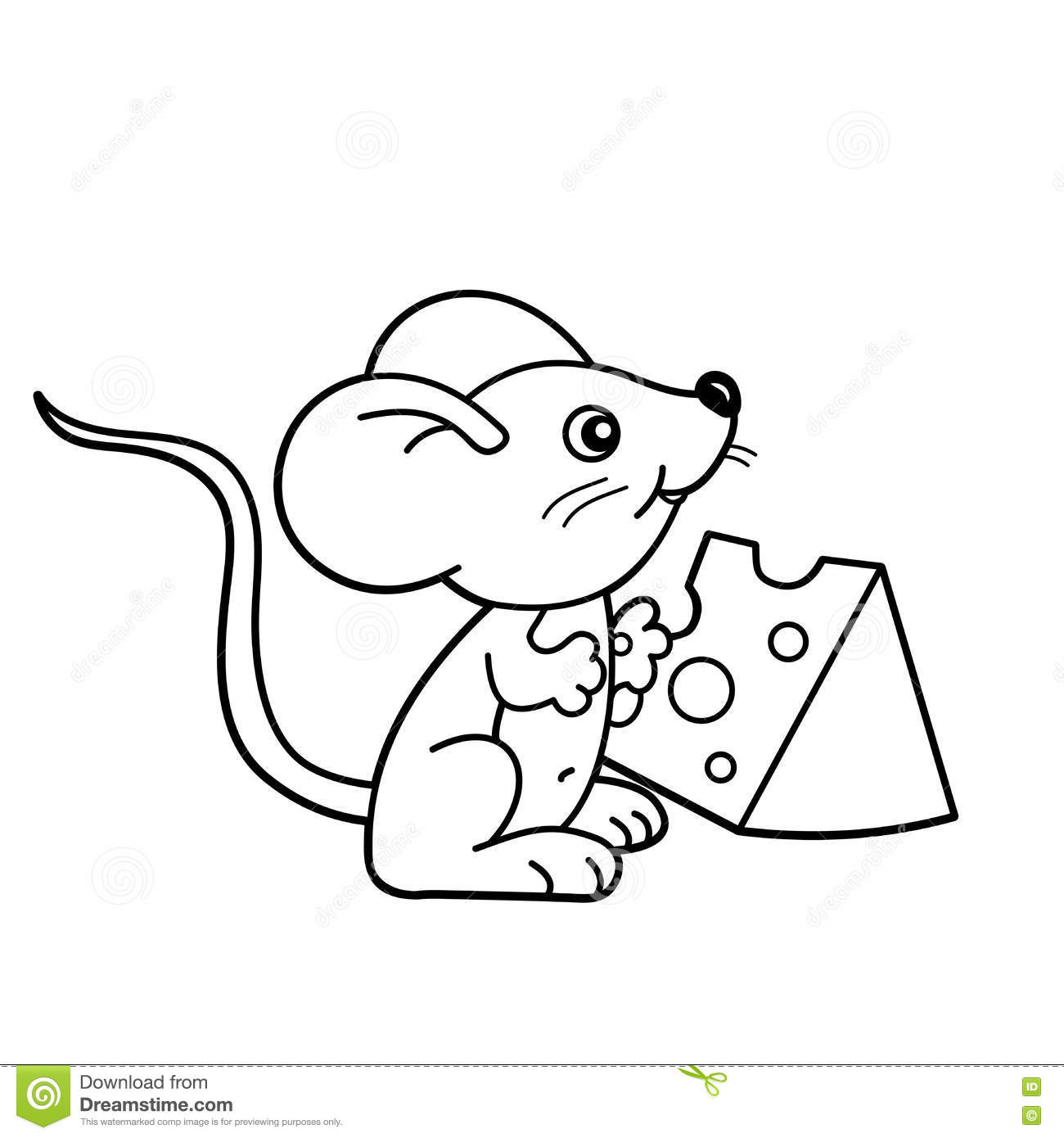 Coloring Page Outline Of Cartoon Little Mouse With Cheese
