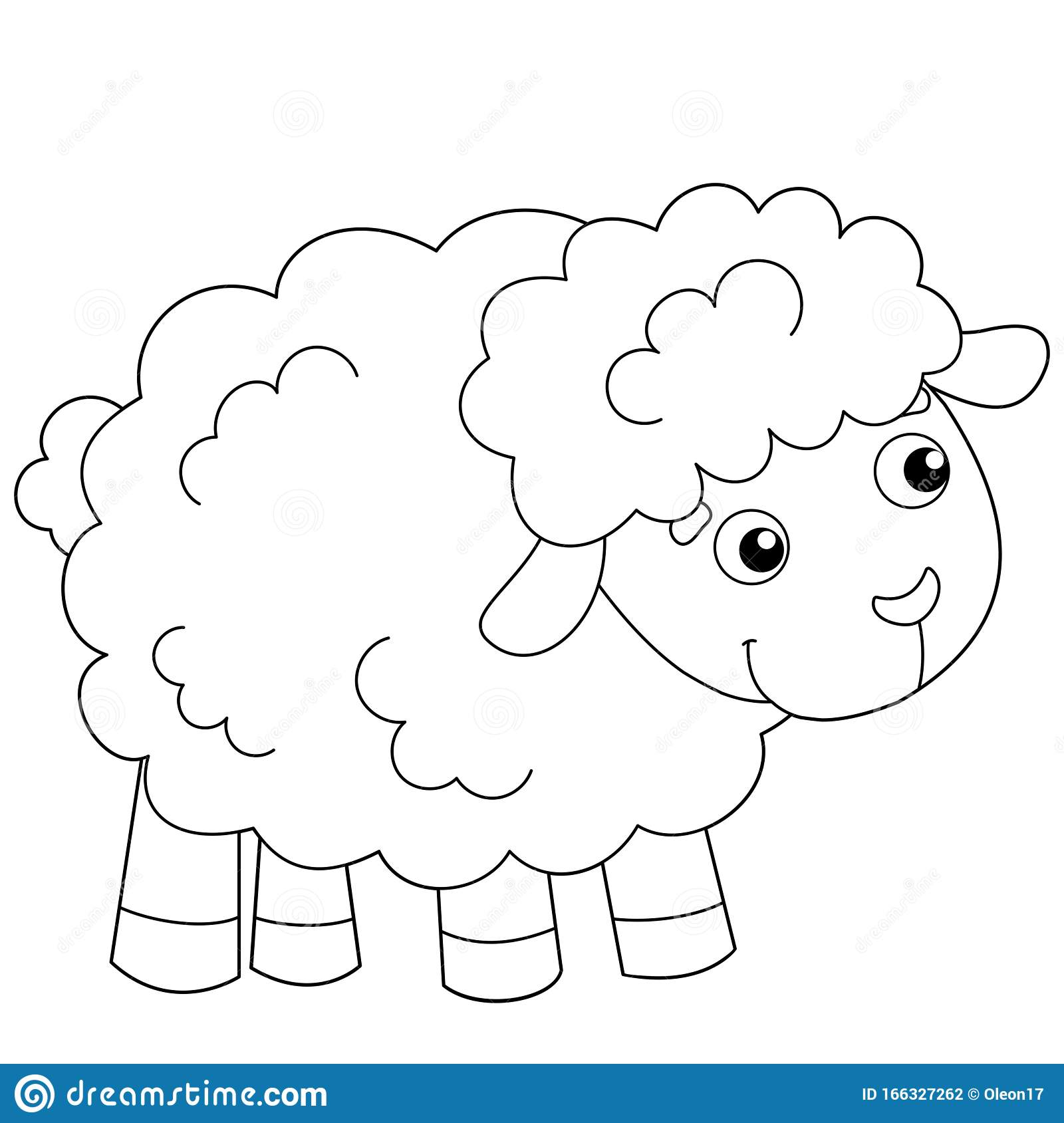 Coloring Page Outline Of Cartoon Sheep Or Lamb Farm Animals Coloring Book For Kids Stock Vector Illustration Of Horns Contour 166327262