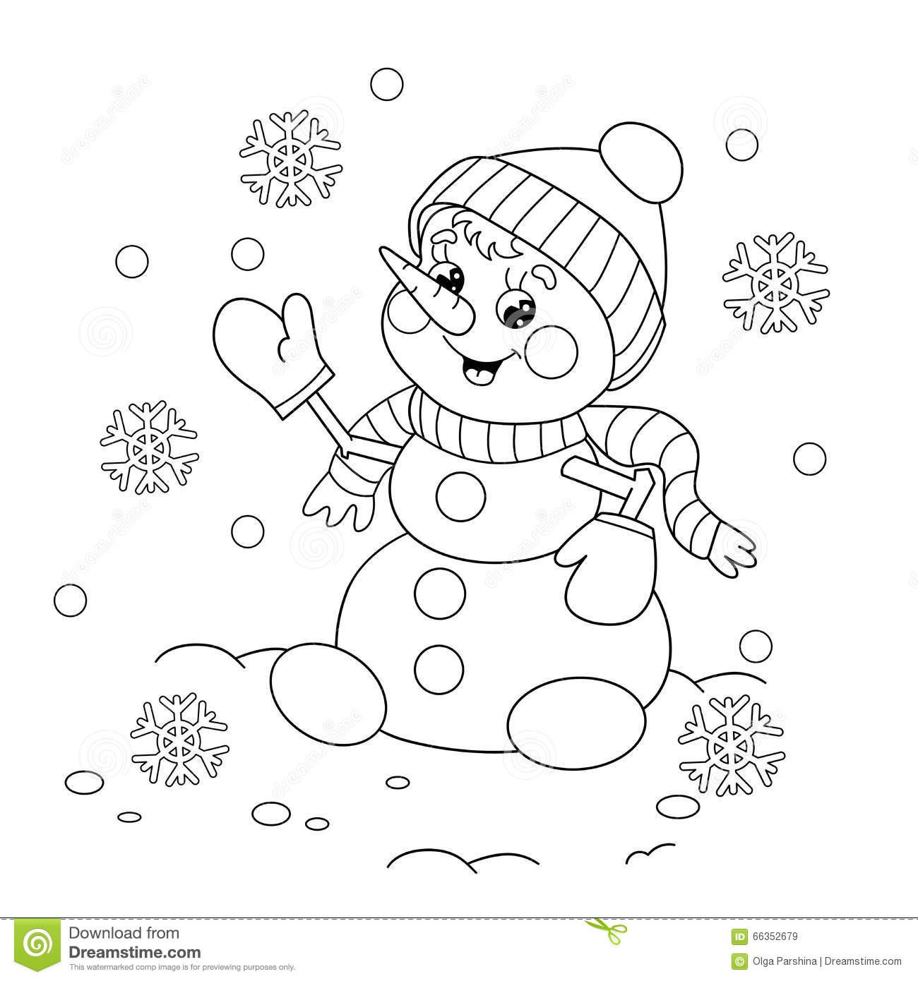 Coloring Page Outline Of Cartoon Snowman Stock Vector