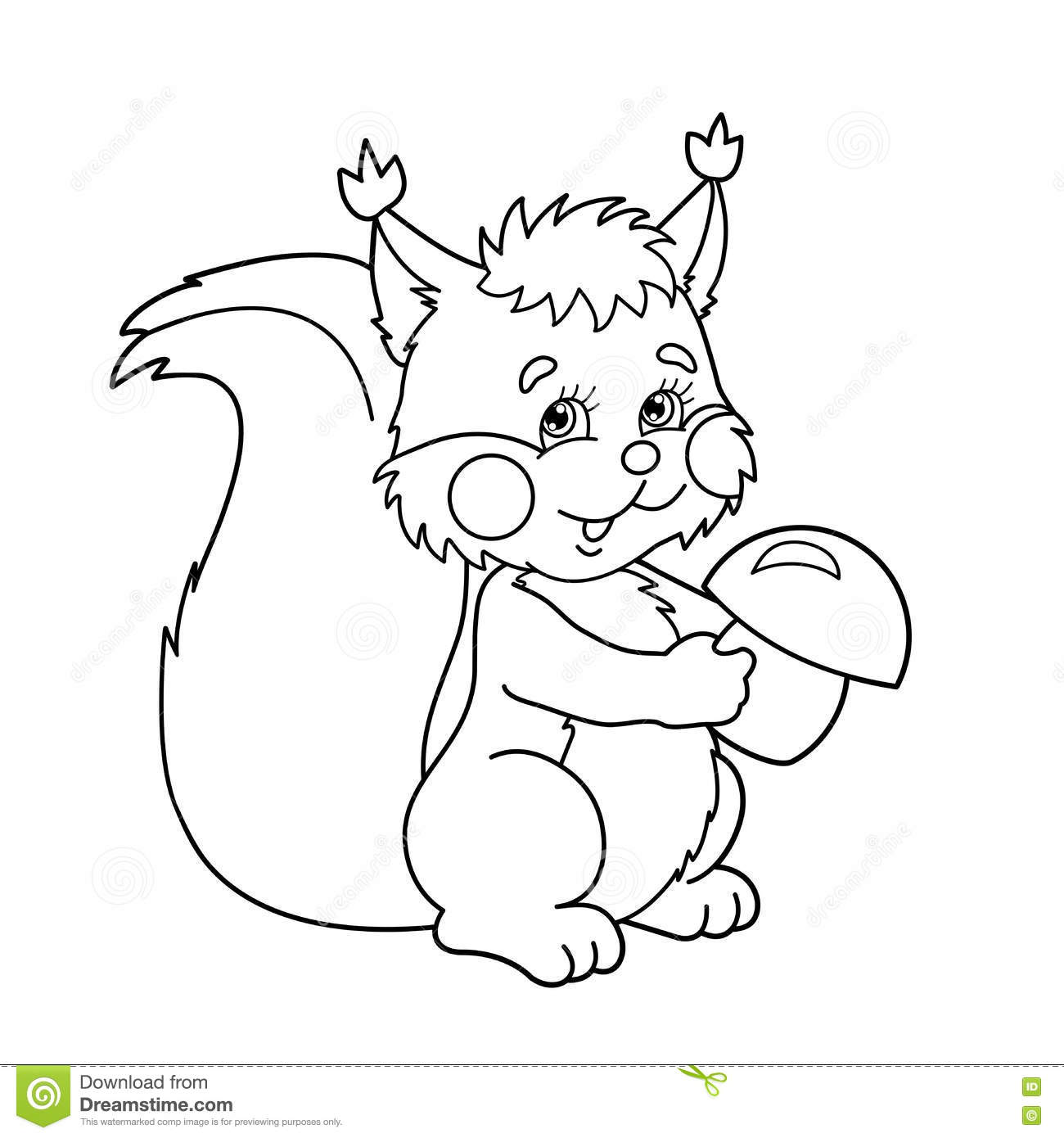 Coloring Page Outline Of Cartoon Squirrel With Mushrooms