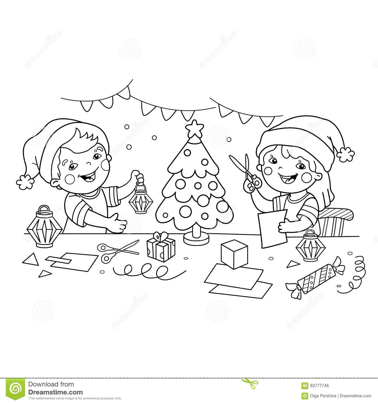 Coloring Page Outline Of Children Make Paper Christmas Lanterns Christmas New Year Coloring