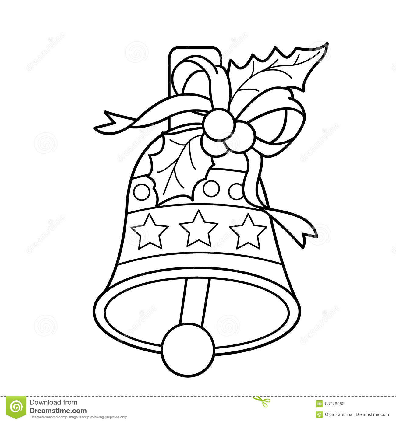 Coloring Page Outline Of Christmas Bell Christmas New