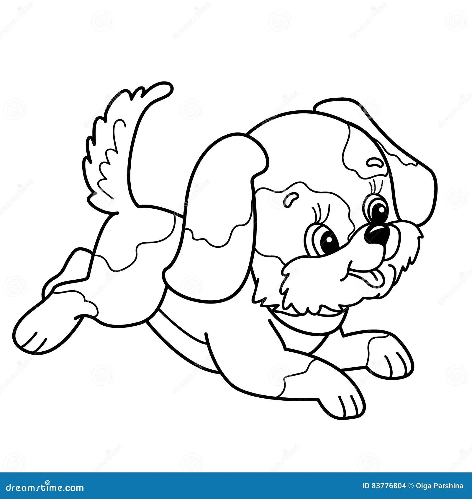 A Cartoon Dog Jumping 3d Illustration Stock Illustration
