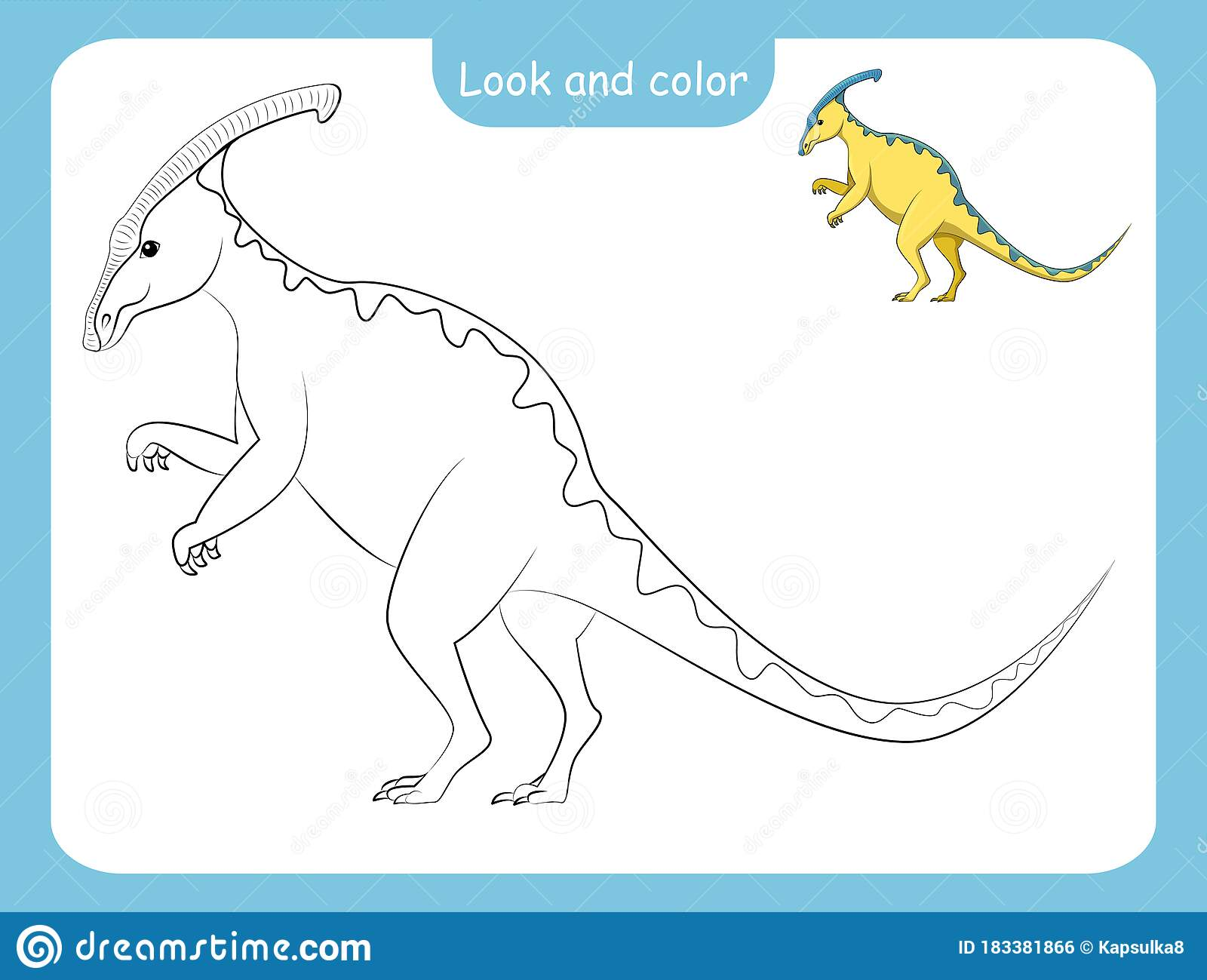 Coloring Page Outline Of Dinosaur With Colored Example