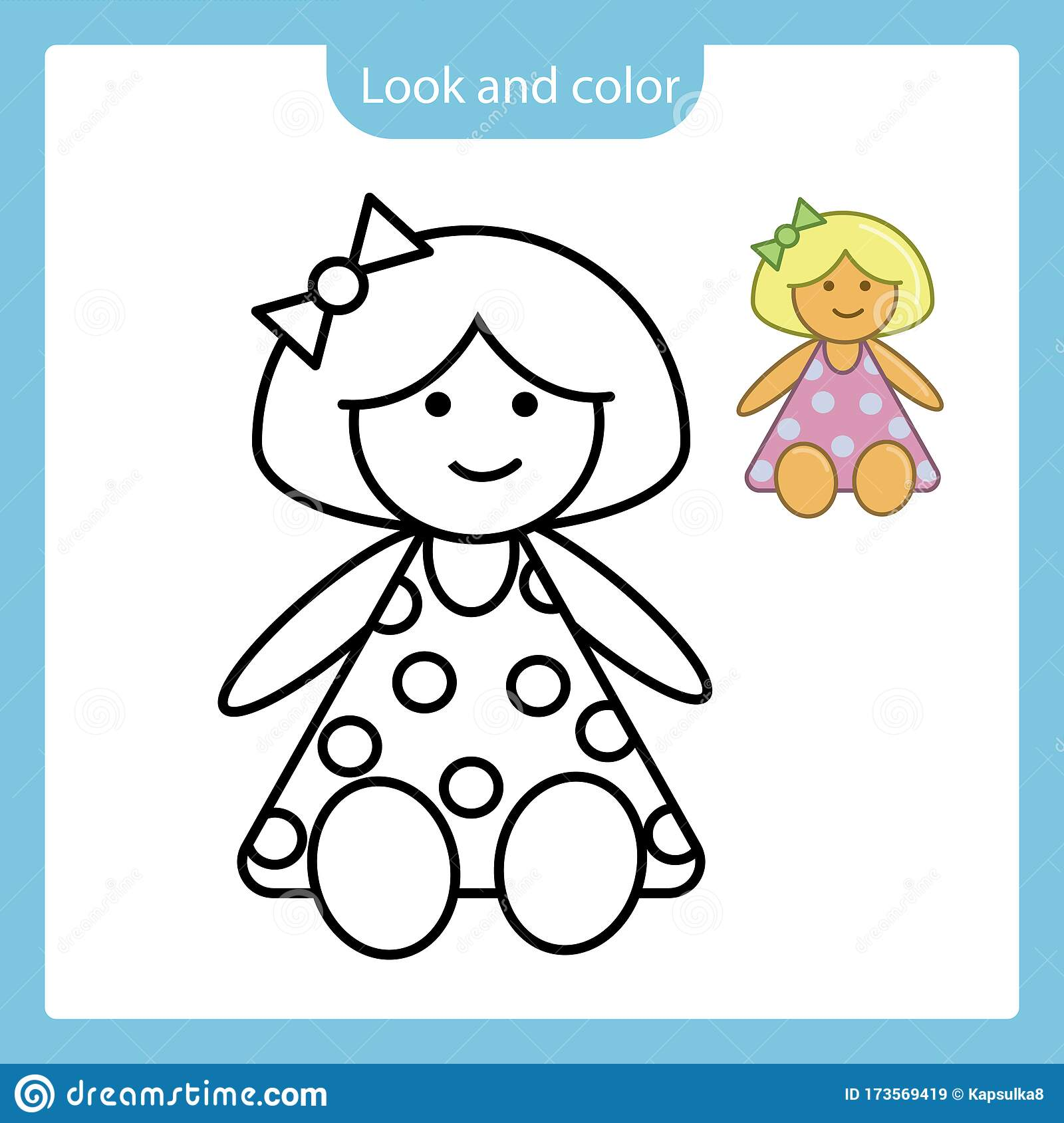 Coloring Page Outline Of Doll Toy With Example Stock
