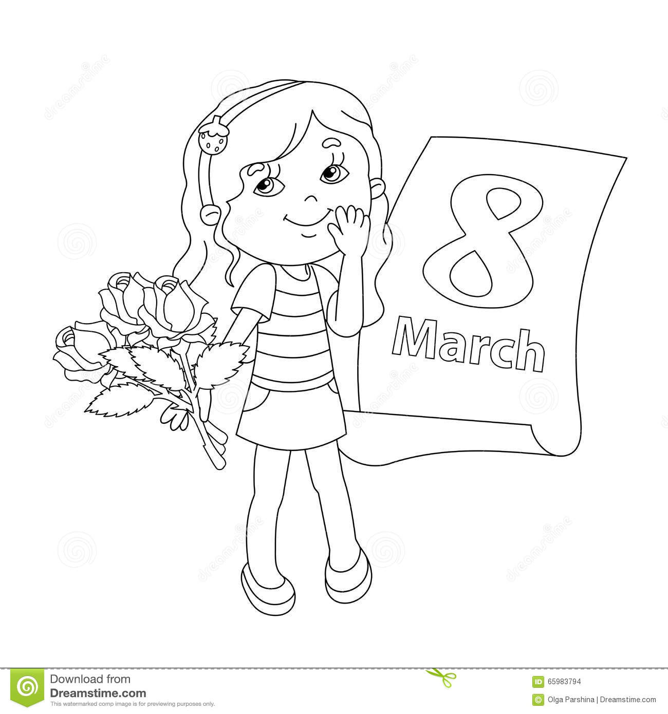 Coloring Page Outline Of Girl With Flowers March 8 Stock