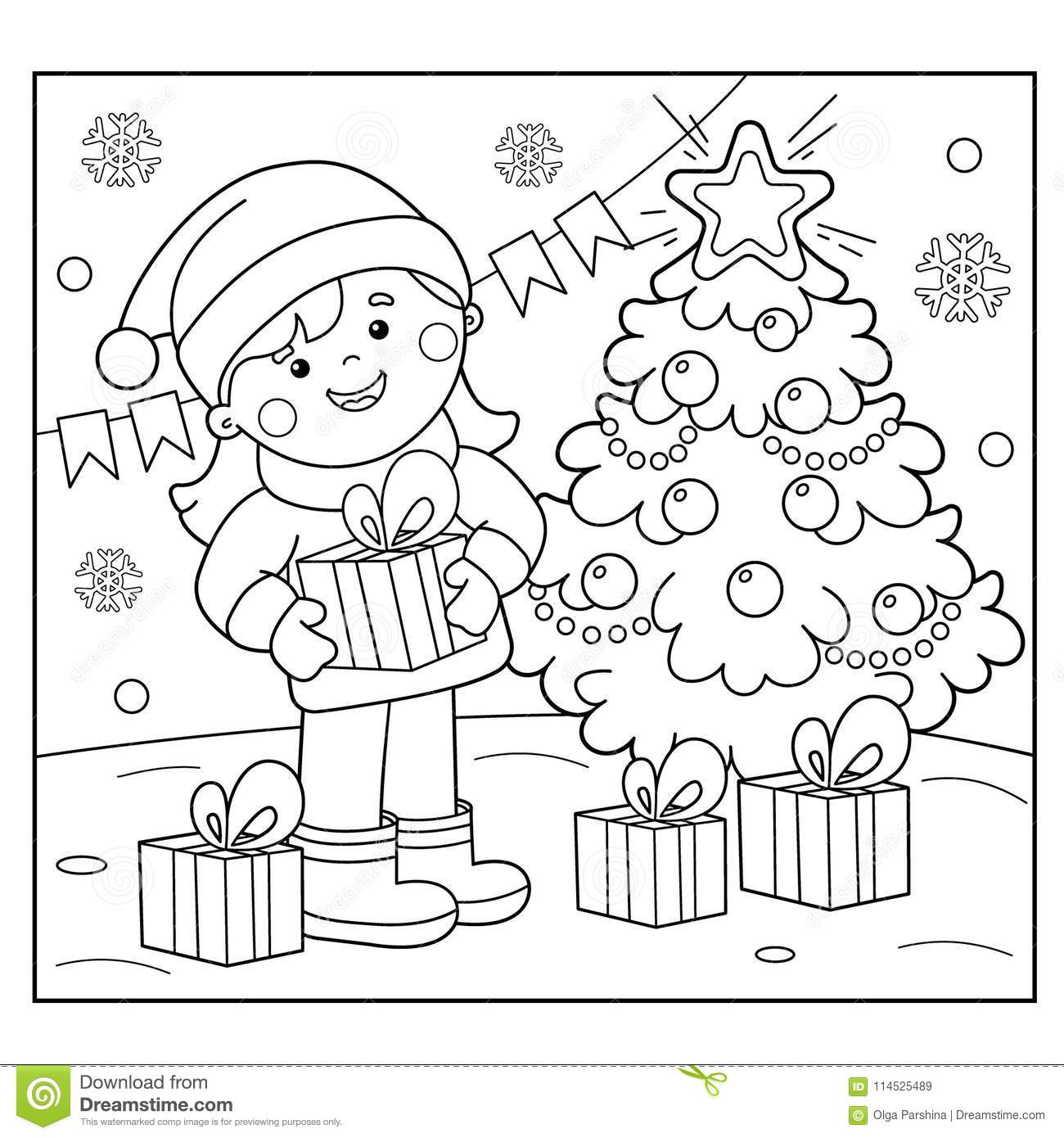 Coloring Page Outline Of Girl With Ts At Christmas Tree