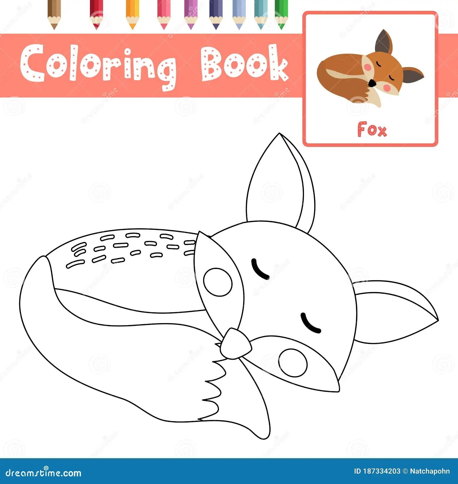 Coloring Page Sleeping Fox Animal Cartoon Character Vector