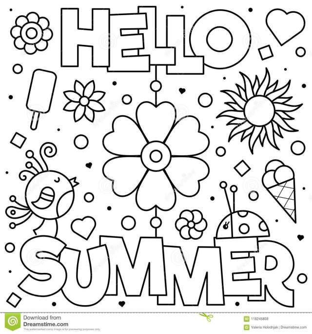 Hello Summer Coloring Page Stock Illustrations – 16 Hello Summer