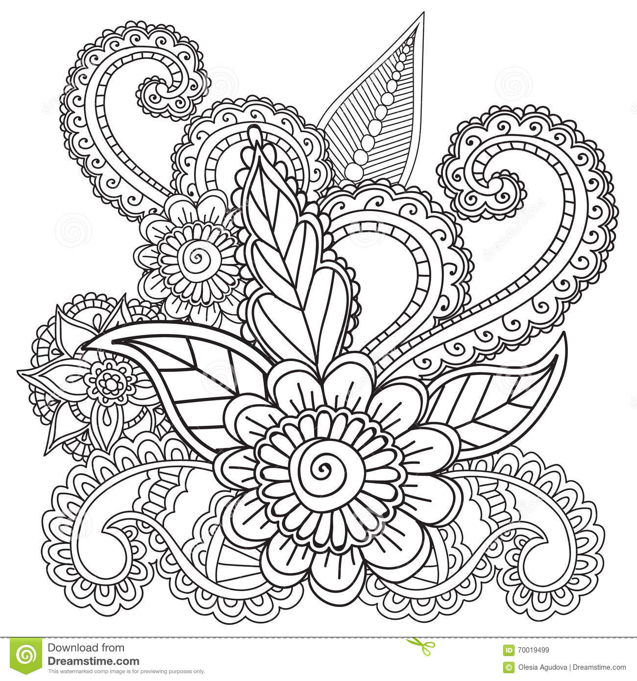 Coloring Pages For Adults Henna Mehndi Doodles Abstract Floral Elements Stock Vector