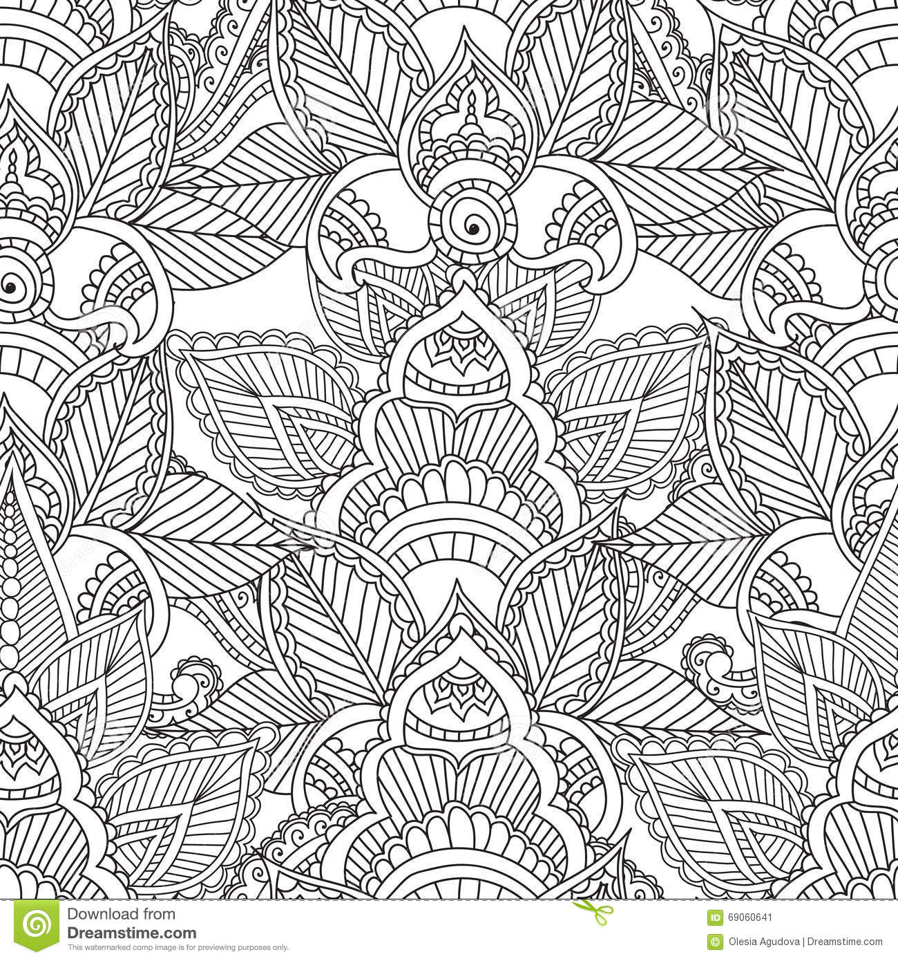 Coloring Pages For Adults Seamles Henna Mehndi Doodles Abstract Floral Elements Stock Vector Illustration Of Abstract Coloring 69060641