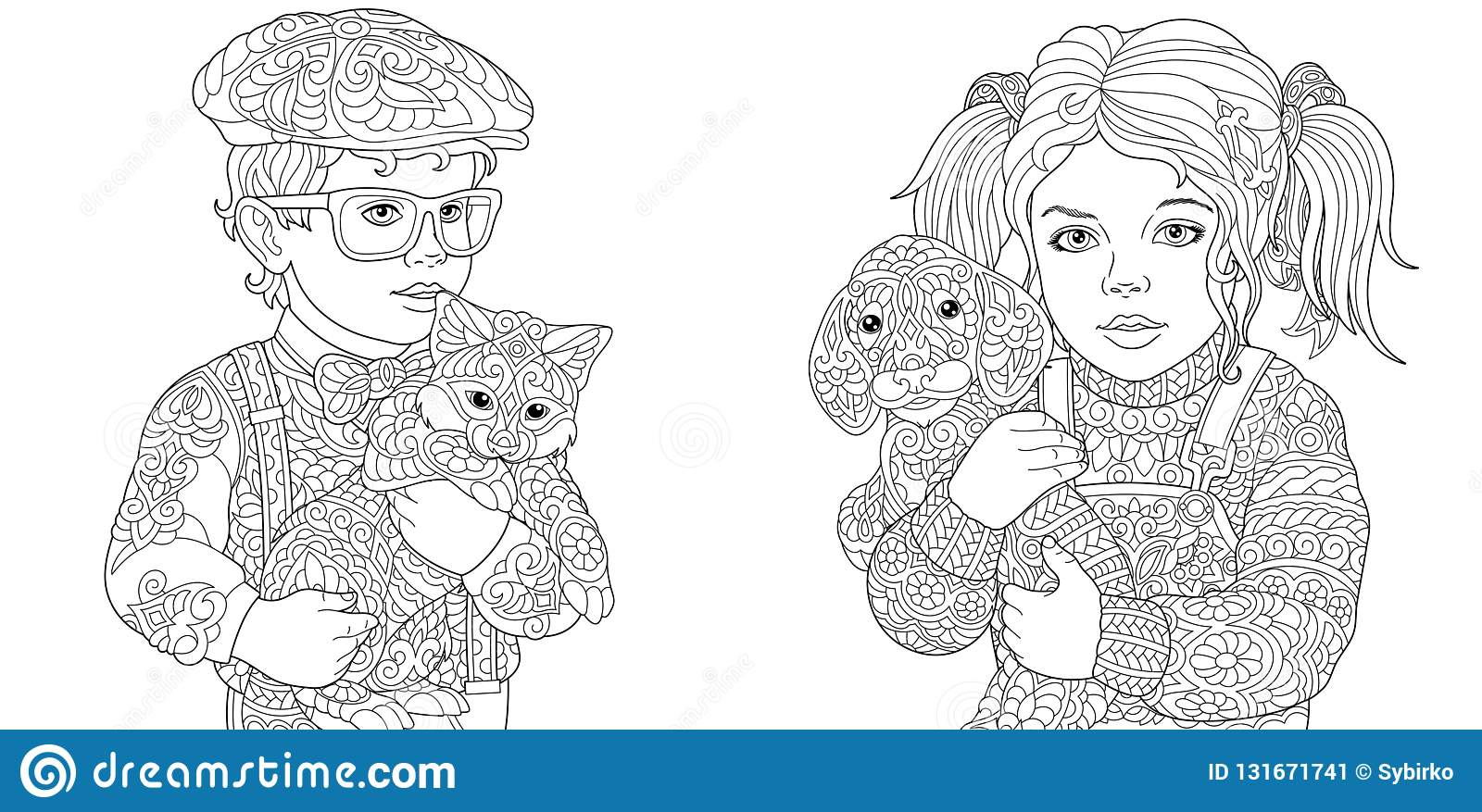 Coloring Pages Coloring Book For Adults Colouring Pictures With Boy And Girl Holding Cat And Dog Drawn In Zentangle Style Stock Vector Illustration Of Child Doodle 131671741