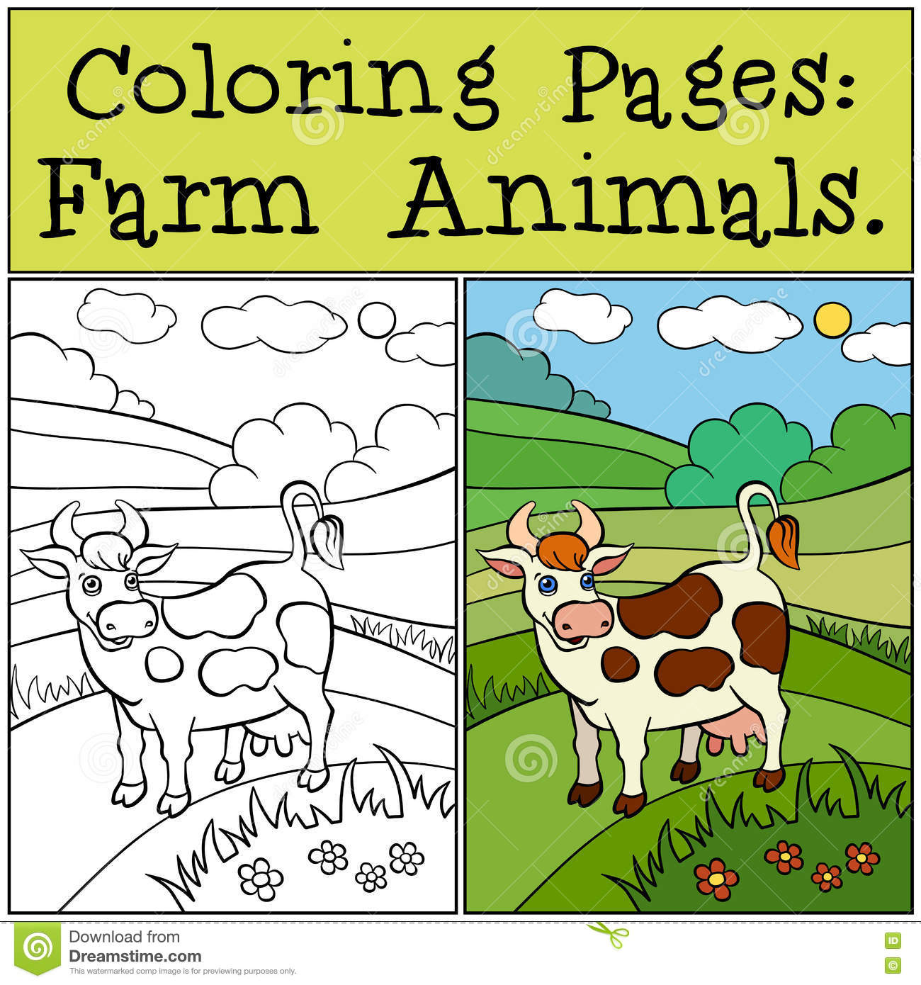 Coloring Pages Farm Animals Cute Cow Stock Vector