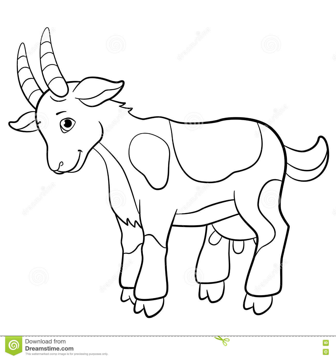 Coloring Pages Farm Animals Cute Goat Stock Vector