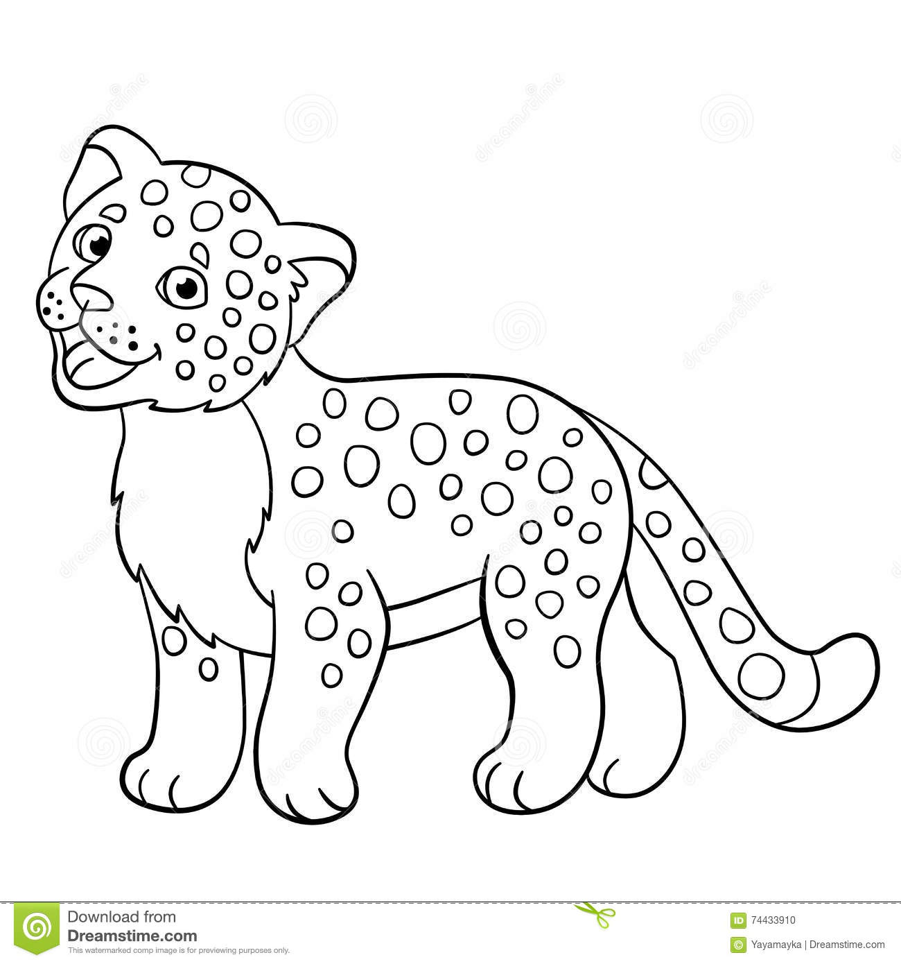 Coloring Pages Little Cute Baby Jaguar Smiles Stock