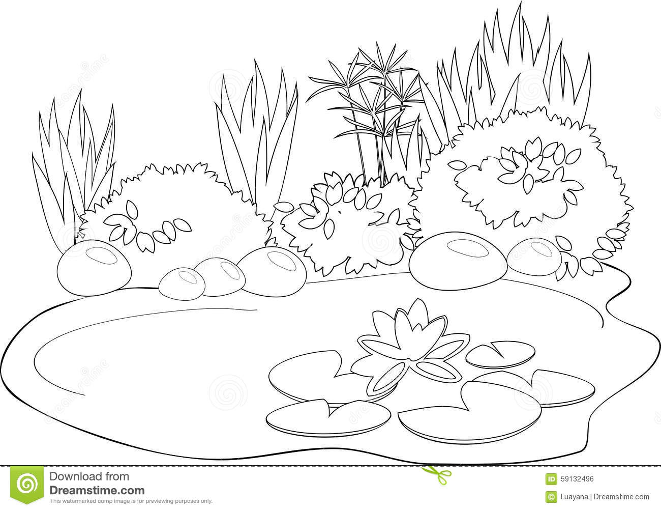 Coloring Pond Stock Vector Illustration Of Childhood