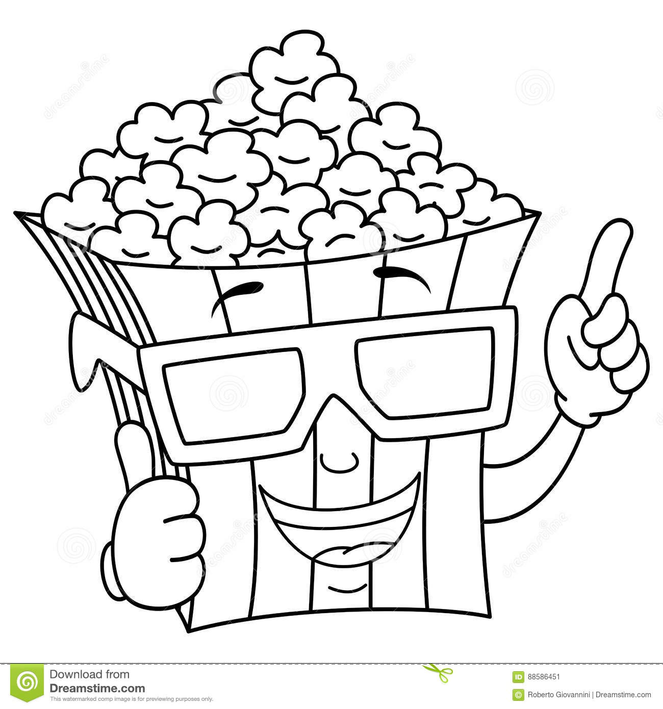 Coloring Popcorn Bag With 3d Glasses Stock Vector
