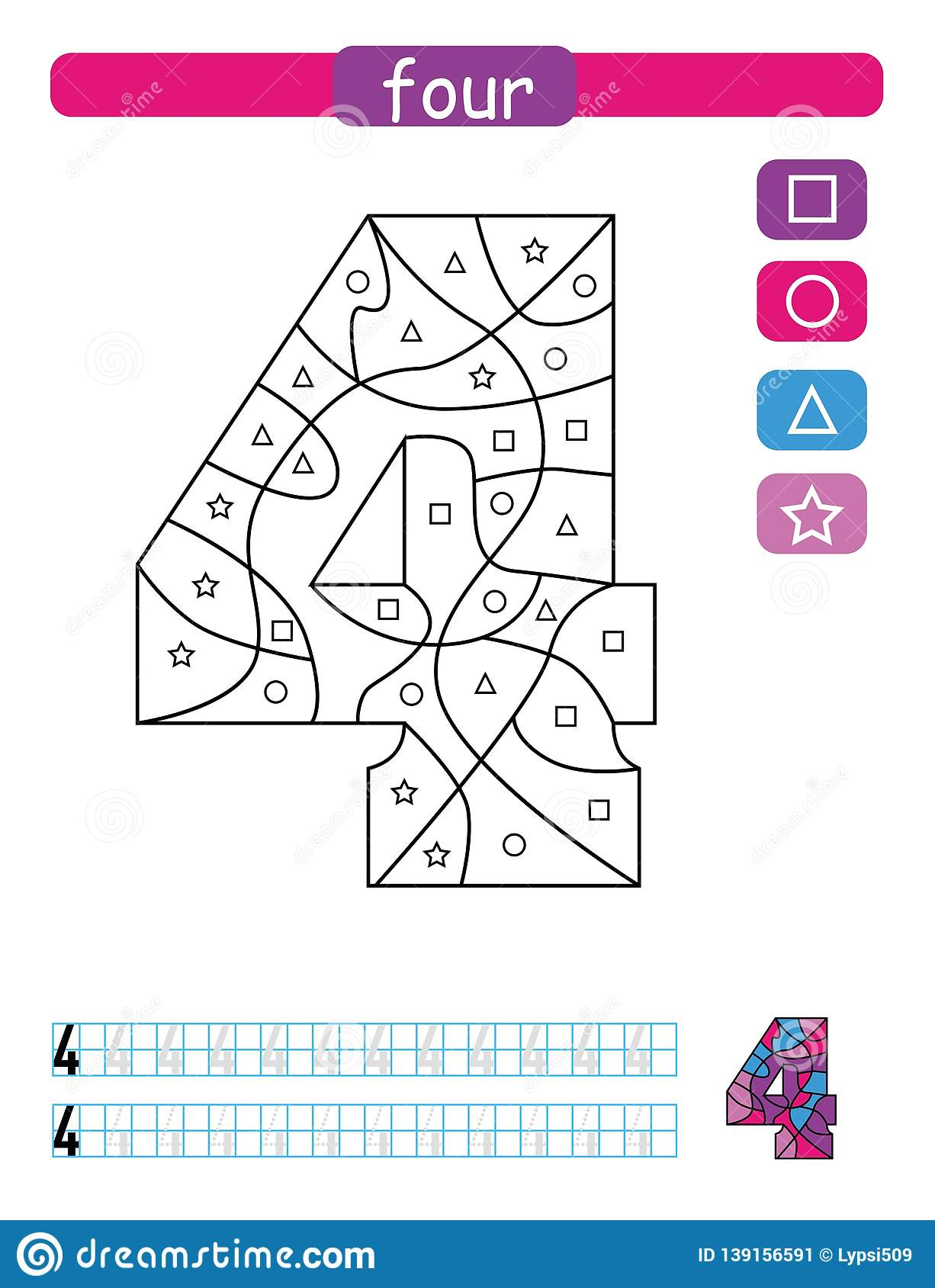 Coloring Printable Worksheet For Kindergarten And Preschool Learning Numbers And Simple Shapes