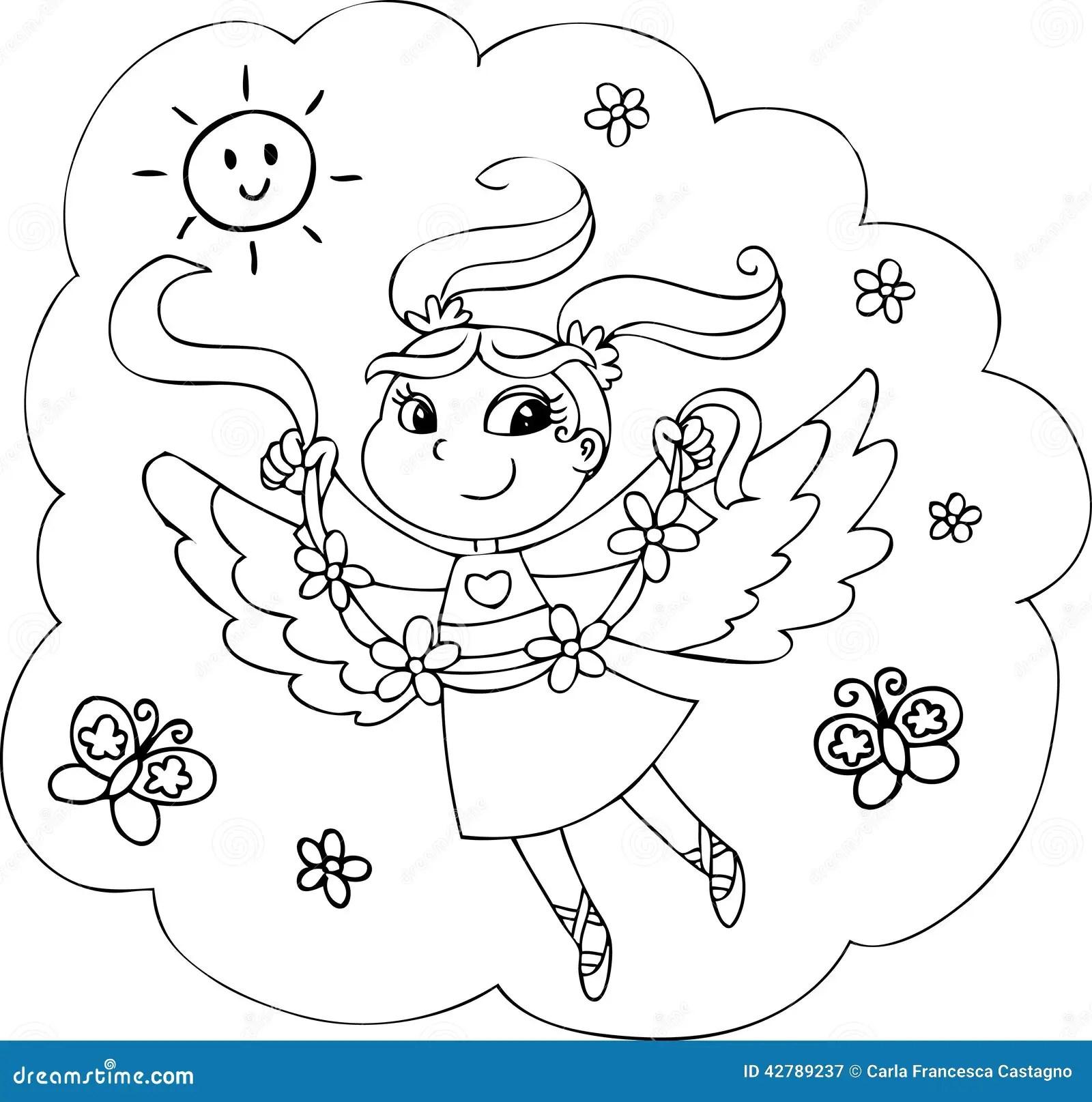 Coloring Rainbow Fairy Girl Stock Illustration Image