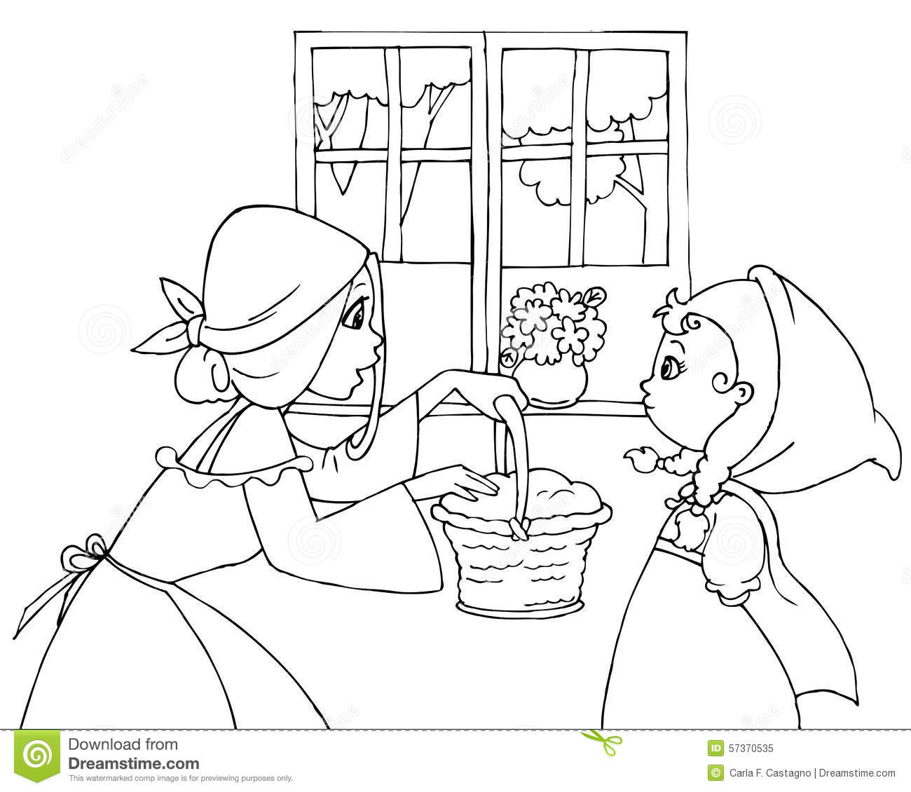 Coloring Red Riding Hood And Mom Stock Vector