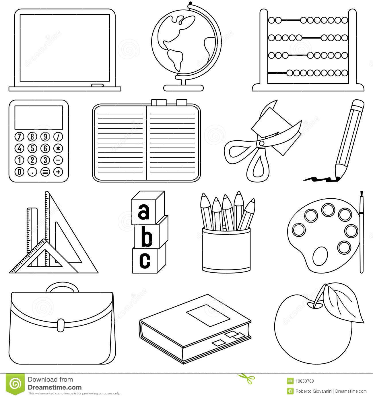 Coloring School Icons Stock Vector Image Of Contour